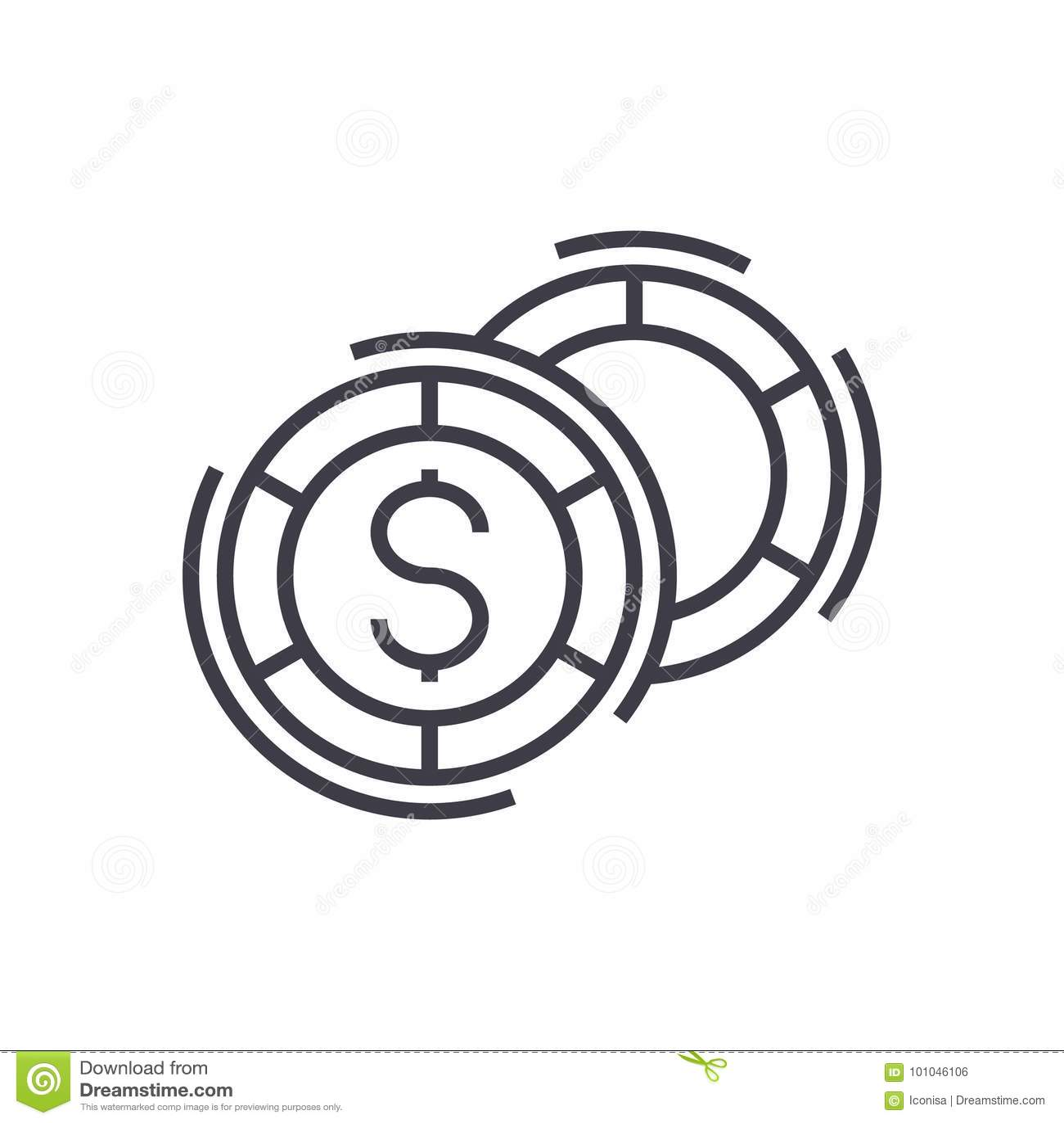 O casino, jogos de mesa vector a linha ícone, sinal, ilustração no fundo, cursos editáveis