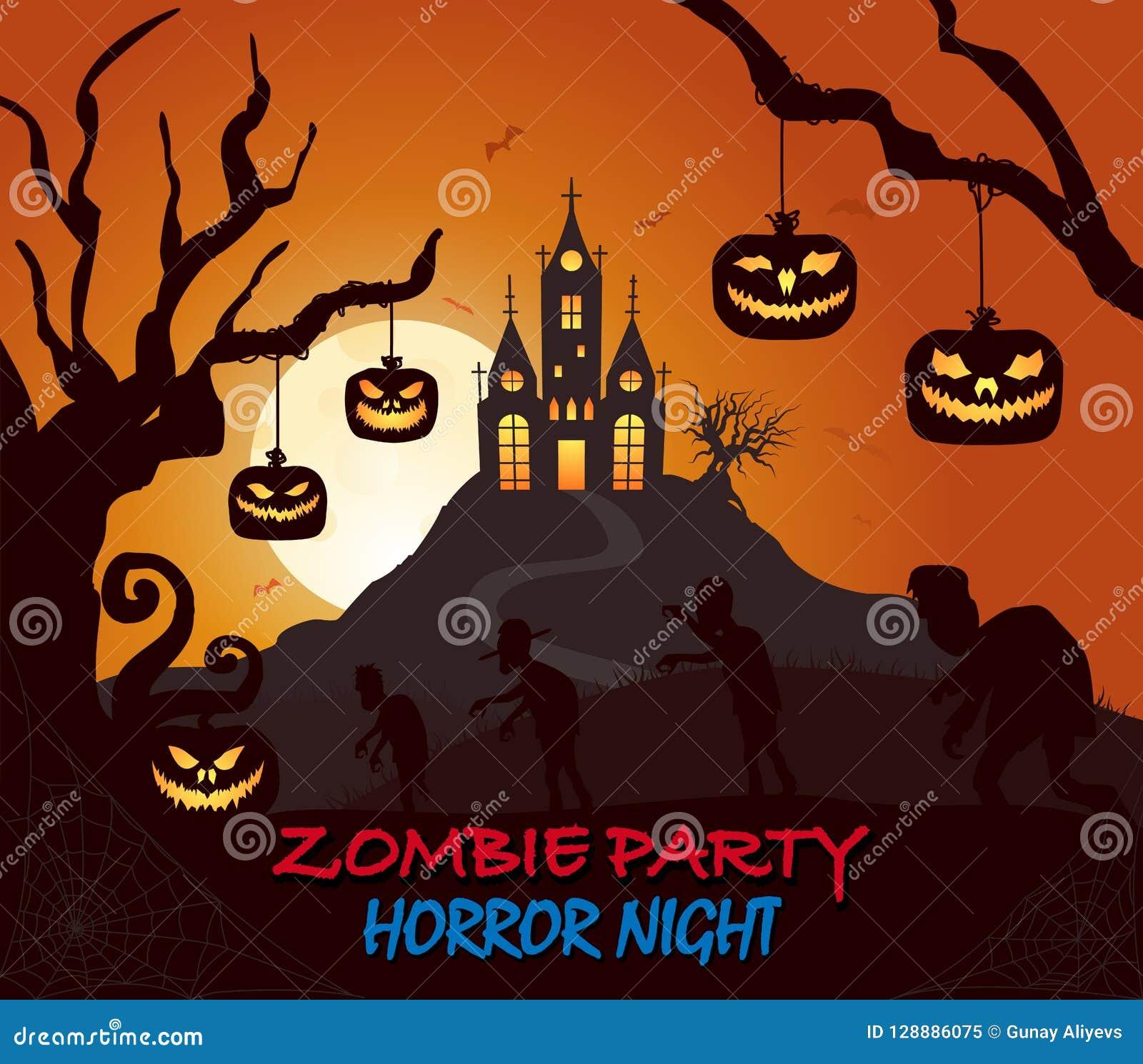 O castelo, abóbora, silhueta do Dia das Bruxas do zombi na obscuridade coloriu o cartaz
