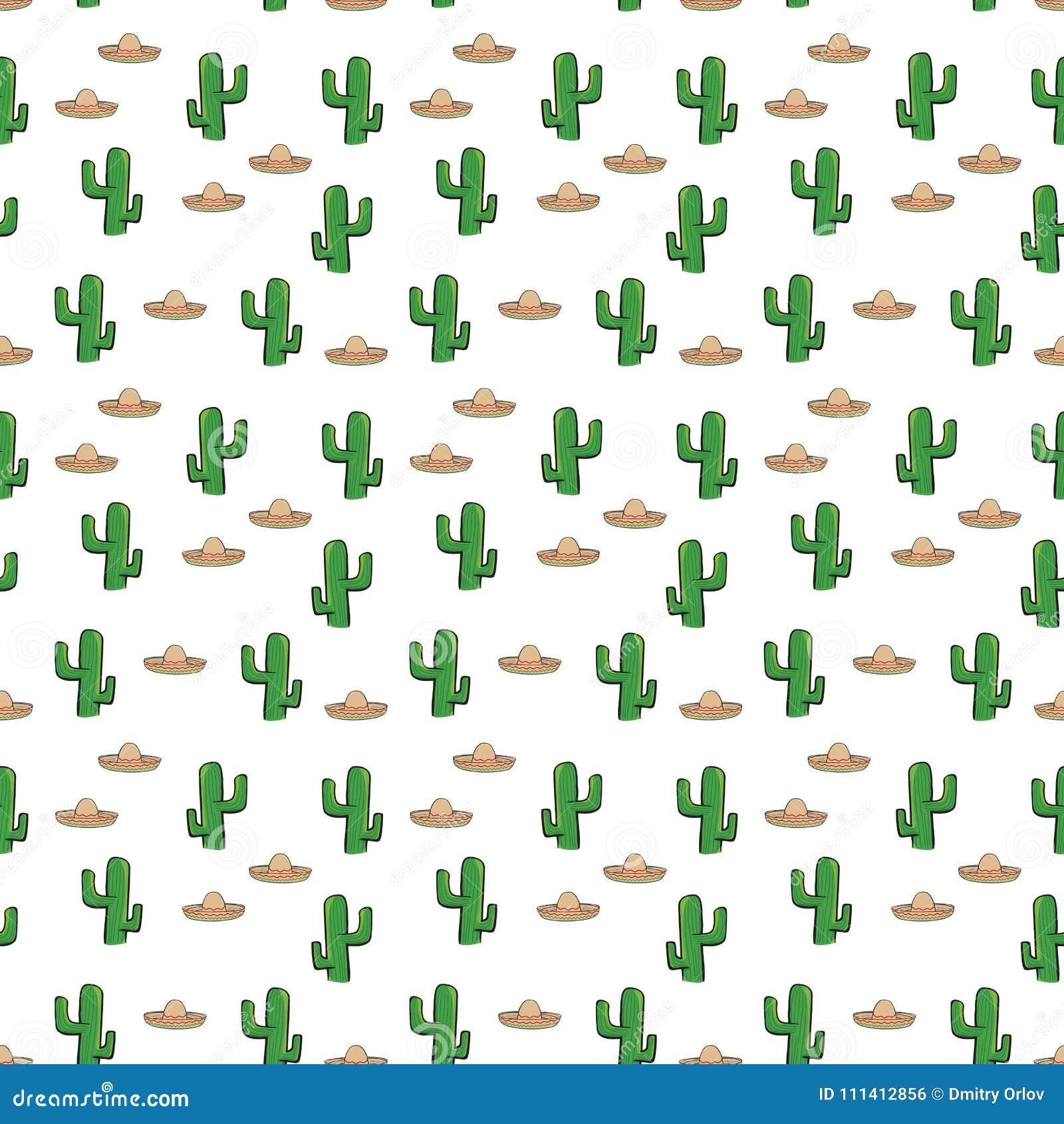 O chapéu e o cacto mexicanos do sombreiro do teste padrão sem emenda na  matéria têxtil branca do papel de parede do fundo vector o giftwrap  Ilustração do ... 70c3ec42943