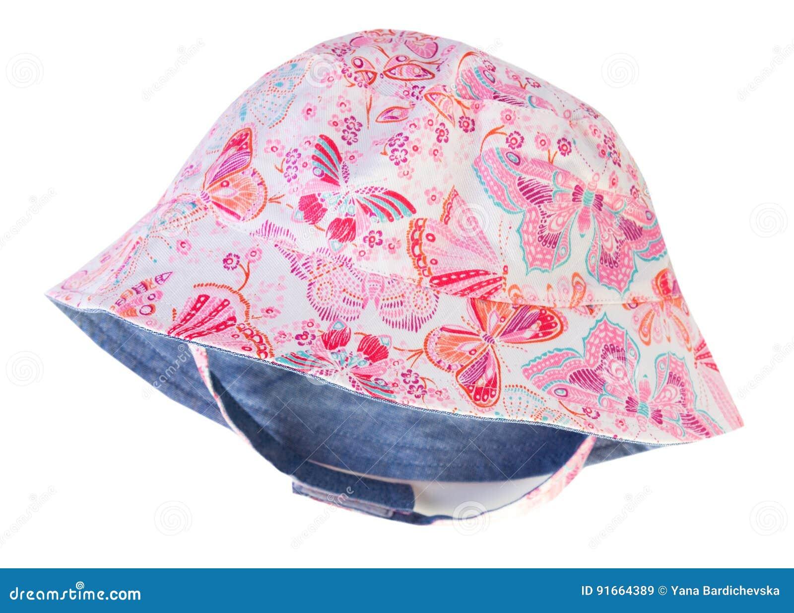 Estúdio de Panamá do chapéu do ` s da criança do verão isolado Headwear  cor-de-rosa colorido do bebê da criança fêmea 76275795e06