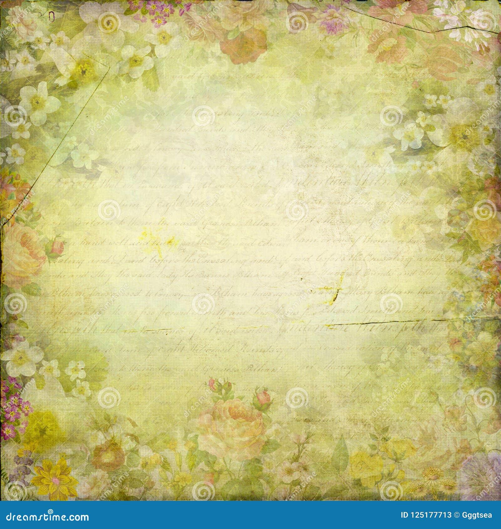 O chique antigo do vintage floresce o fundo de papel da textura do quadro