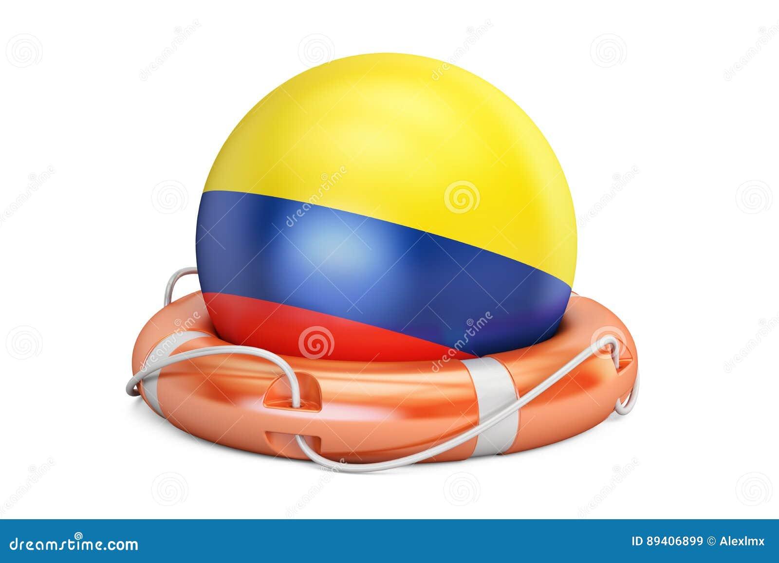 O cinto de salvação com bandeira de Colômbia, cofre forte, ajuda e protege o conceito 3d