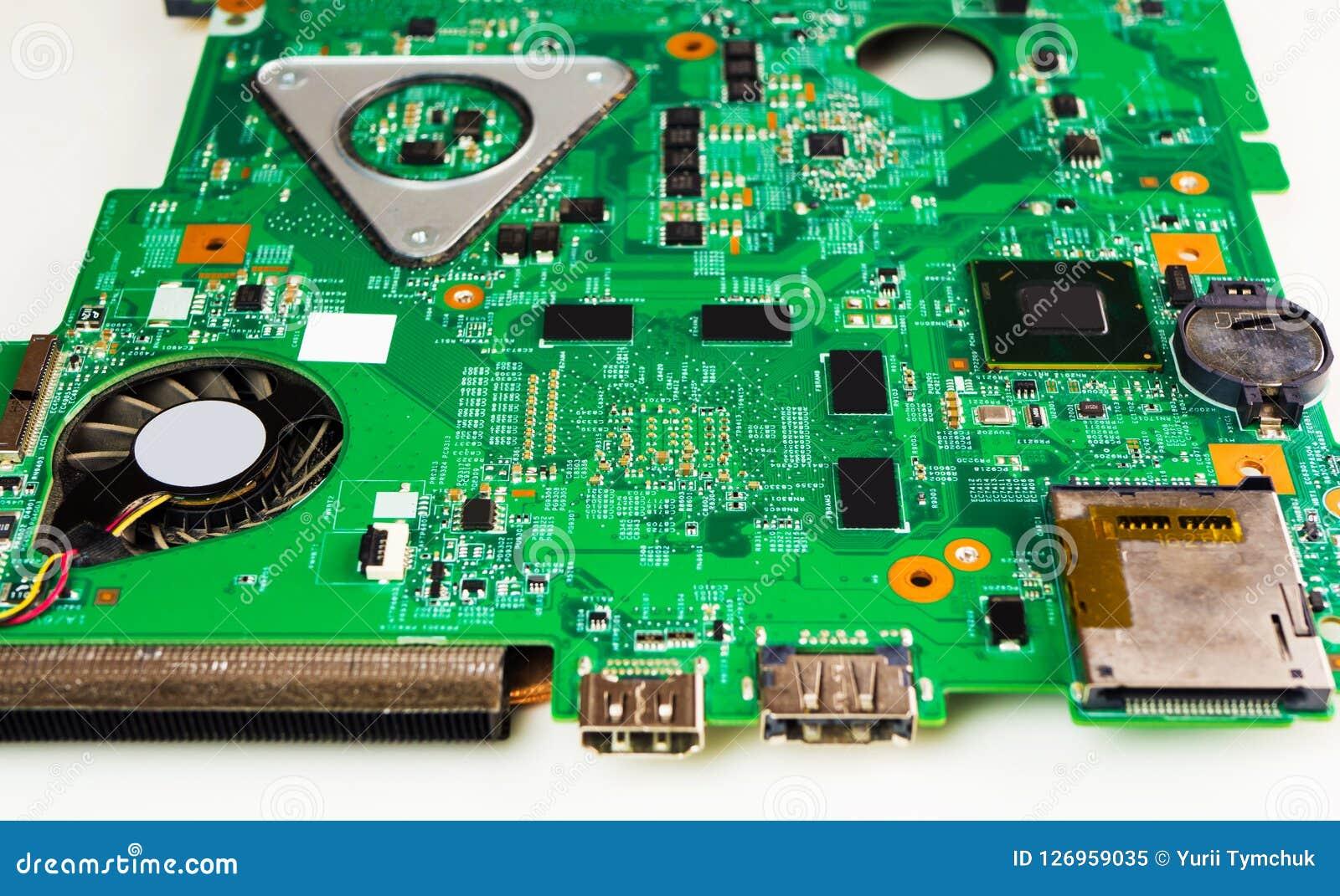 O close up disparou da placa de circuito impresso do verde - PWB