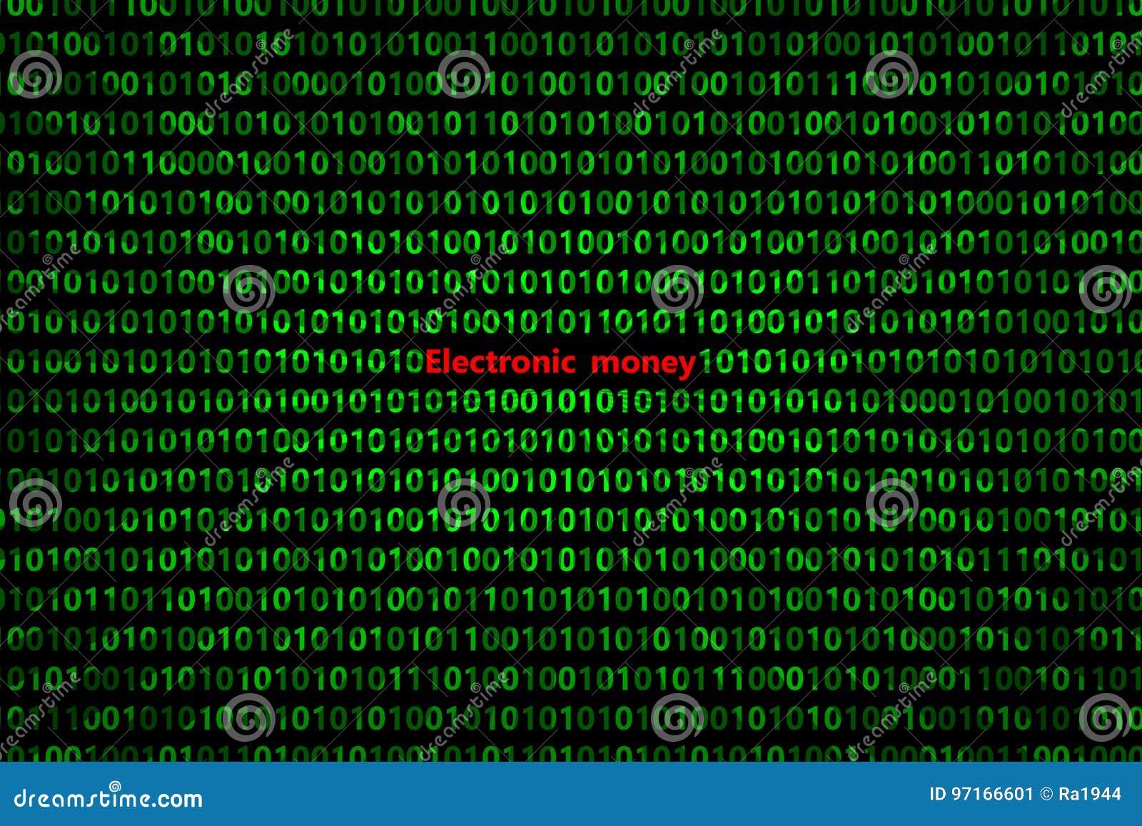 O close up do código binário, com os raios radiais do ` do dinheiro eletrônico do ` da inscrição diverge da inscrição