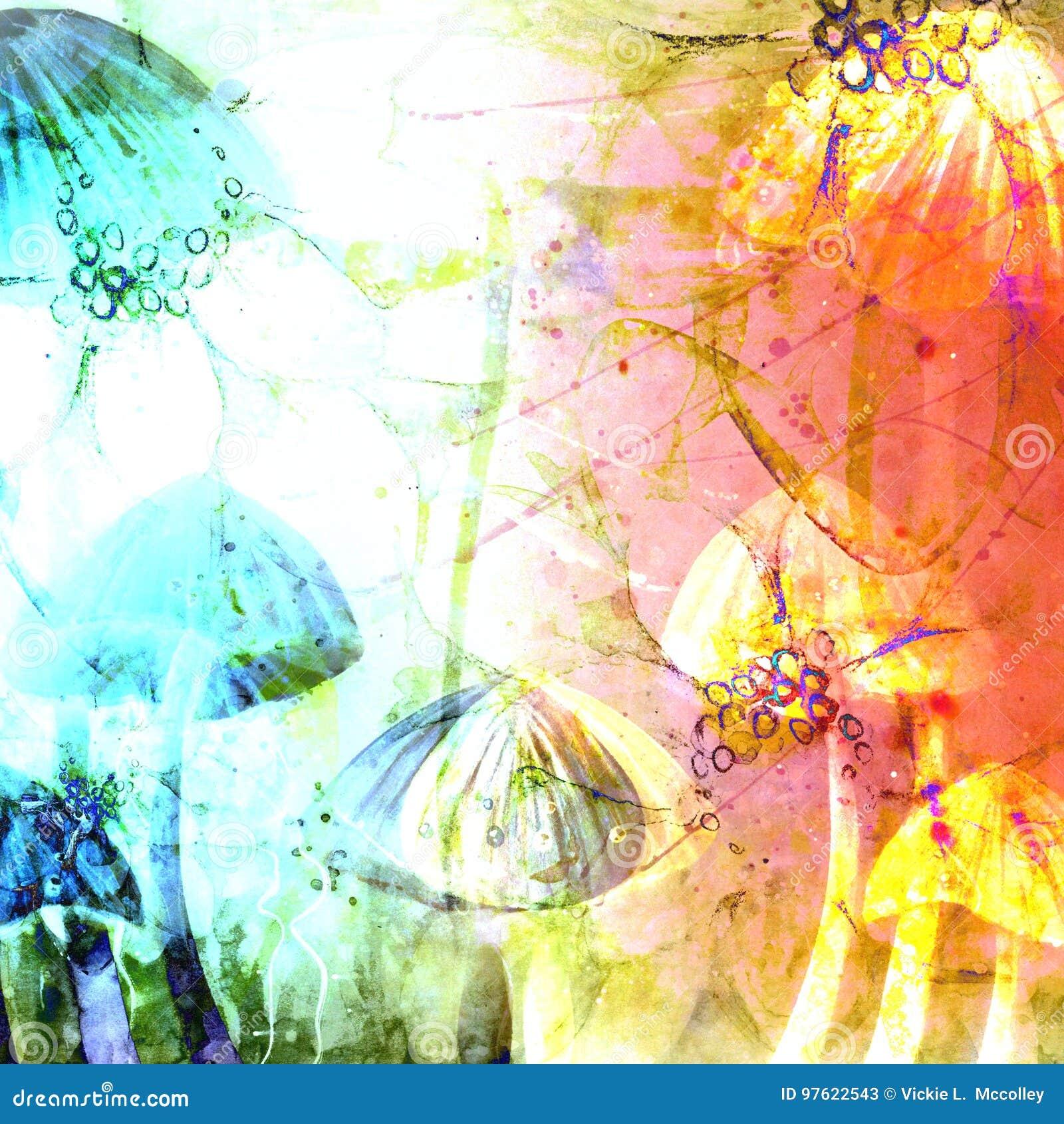 O cogumelo tampa ilustrações abstratas do fundo do Grunge da aquarela