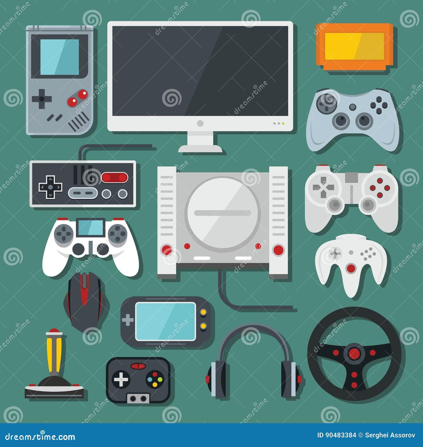 O computador, console digital do jogo online video, jogo utiliza ferramentas o vetor s