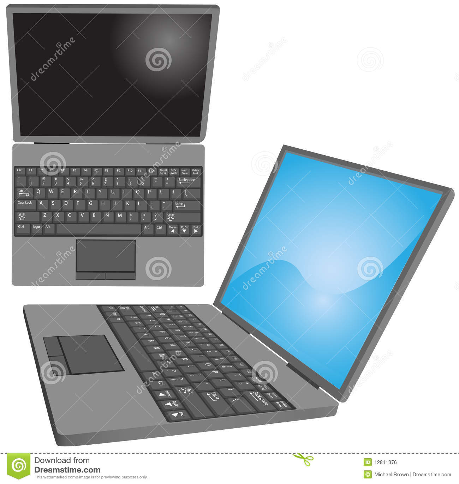 O computador portátil fecha opiniões laterais superiores do teclado