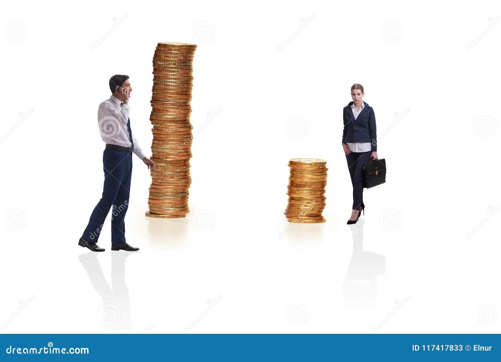 O conceito da diferença desigual do pagamento e de gênero entre a mulher do homem