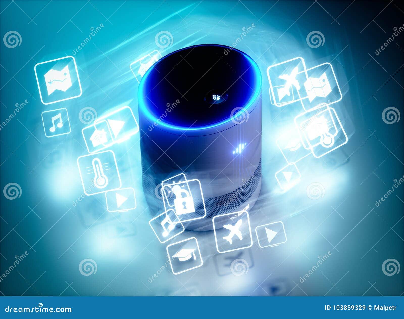 O conceito da voz inteligente home ativou o assistente com ícones do comando da voz