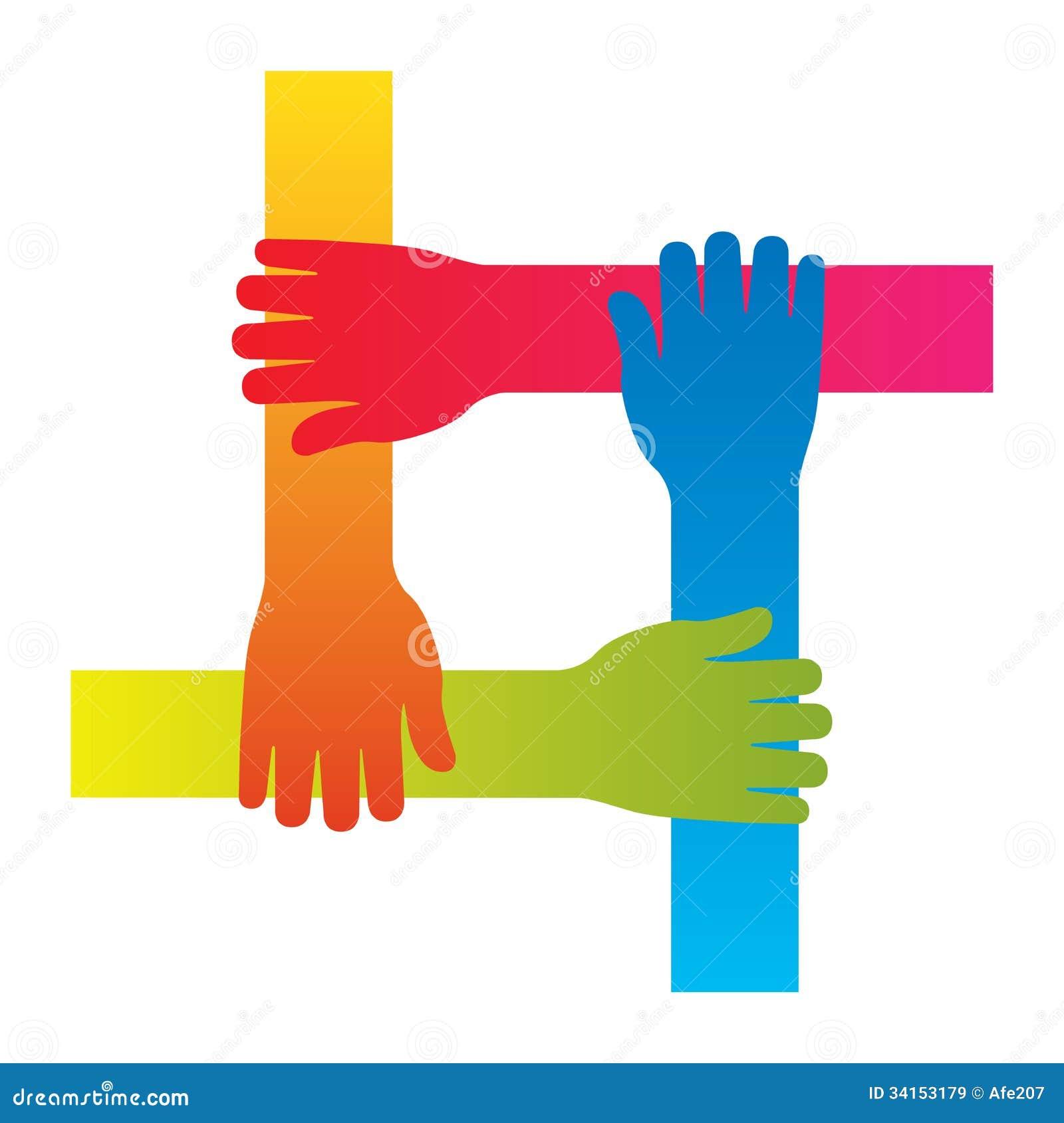 O conceito de conexão do ícone dos trabalhos de equipa da mão popular isolou o vetor