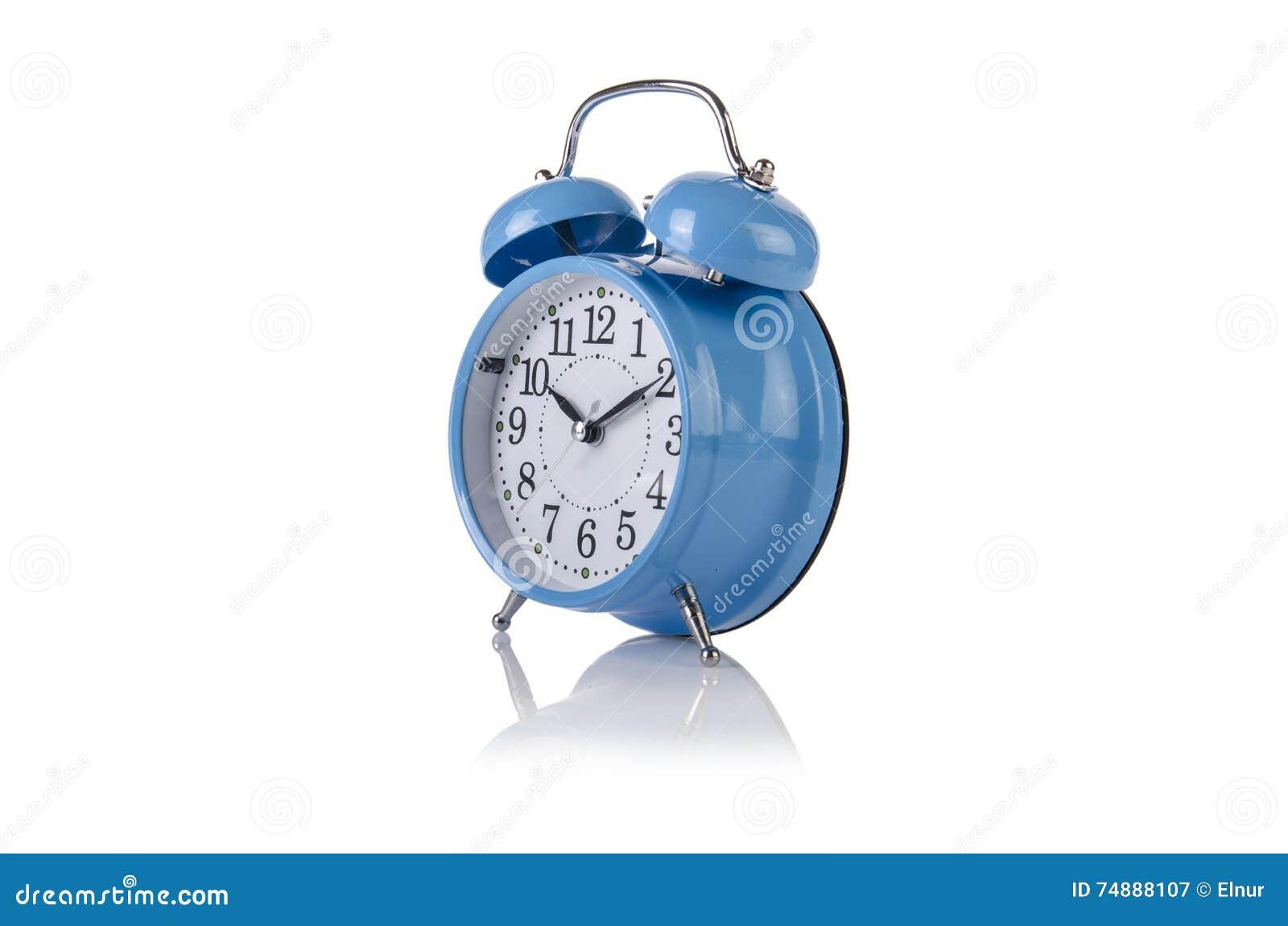 O conceito do despertador a tempo isolado no branco