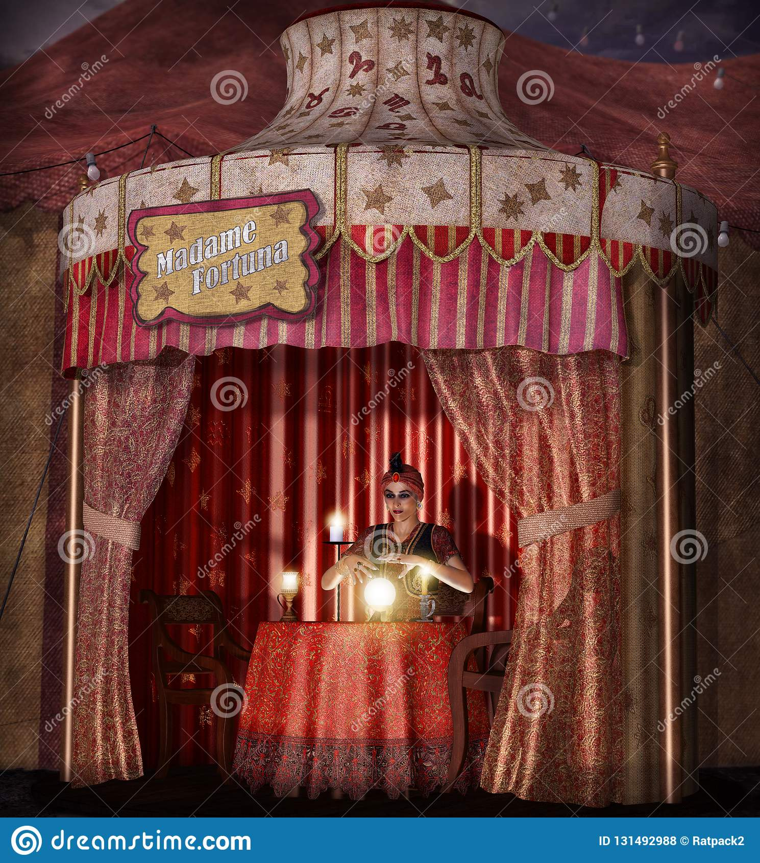 O conceito dramático de um caixa de fortuna aciganado místico, fêmea com uma bola de cristal leve em sua barraca, 3d realístico r