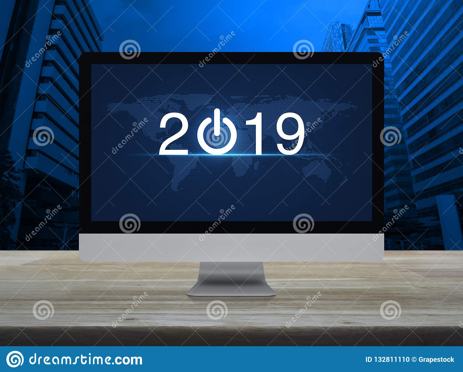 O conceito 2019, elementos do ano novo feliz desta imagem forneceu perto