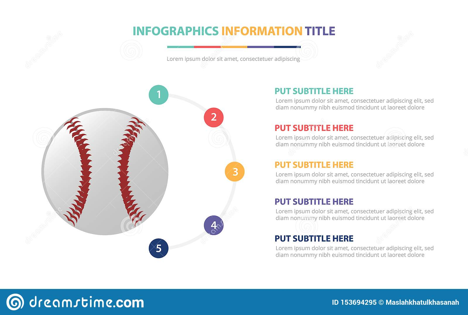 O conceito infographic do molde do basebol com cinco pontos alista e vária cor com fundo branco moderno limpo - vetor
