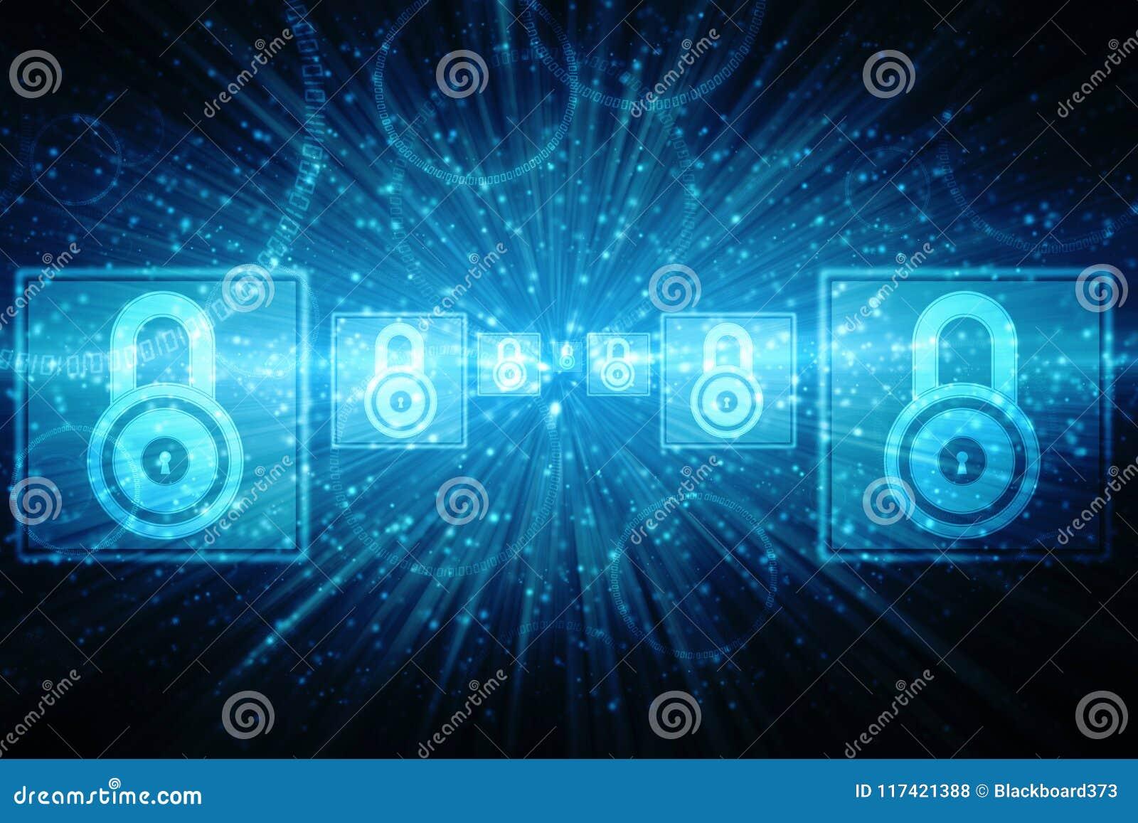 2.o concepto de la seguridad del ejemplo: Candado cerrado en el fondo digital, fondo cibernético de la seguridad