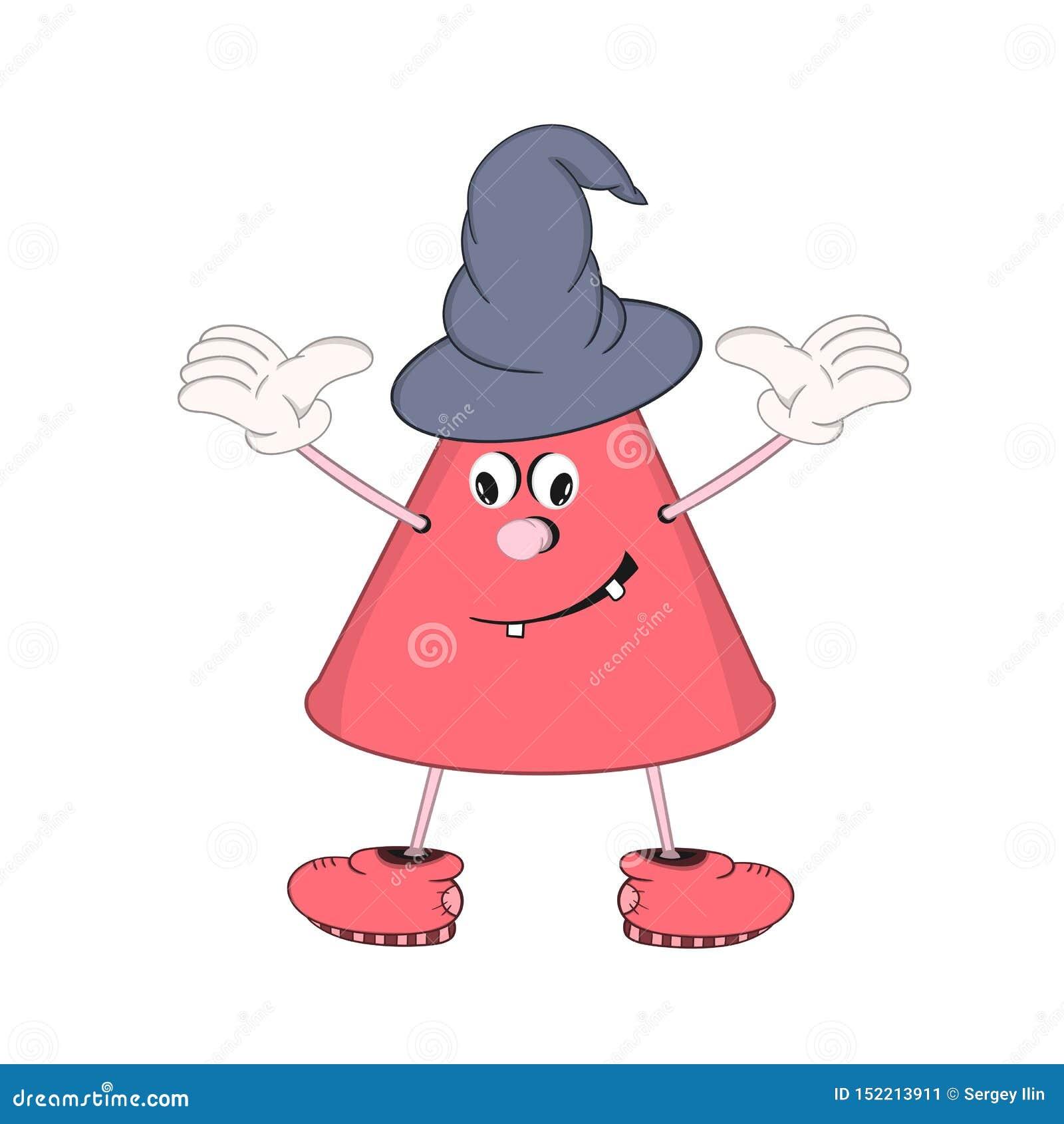 O cone engraçado dos desenhos animados com olhos, mãos e pés, demonstra a emoção de um sorriso Na cabeça é o tampão de um feitice