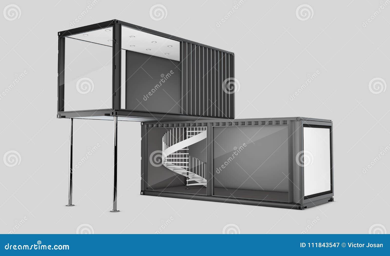 O contentor velho convertido, ilustração 3d isolou o cinza