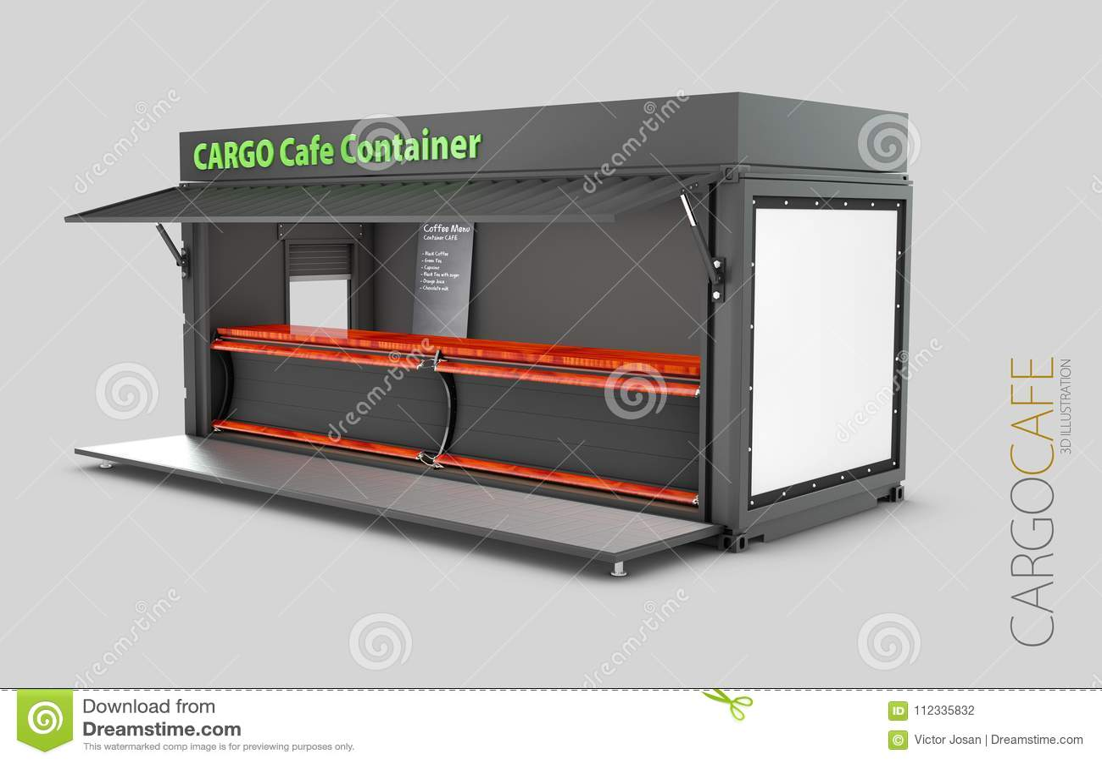 O contentor velho convertido no café, ilustração 3d isolou o branco