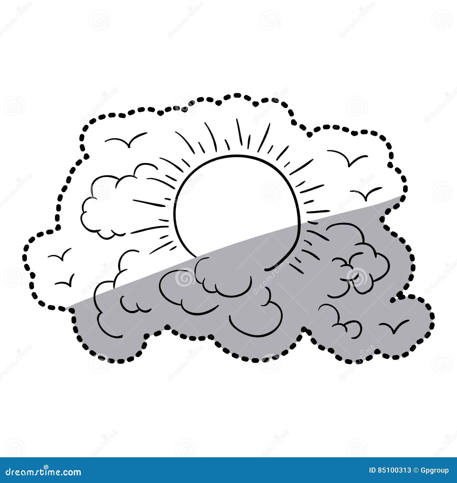 o contorno da etiqueta nubla se no céu com sol e pássaros ilustração