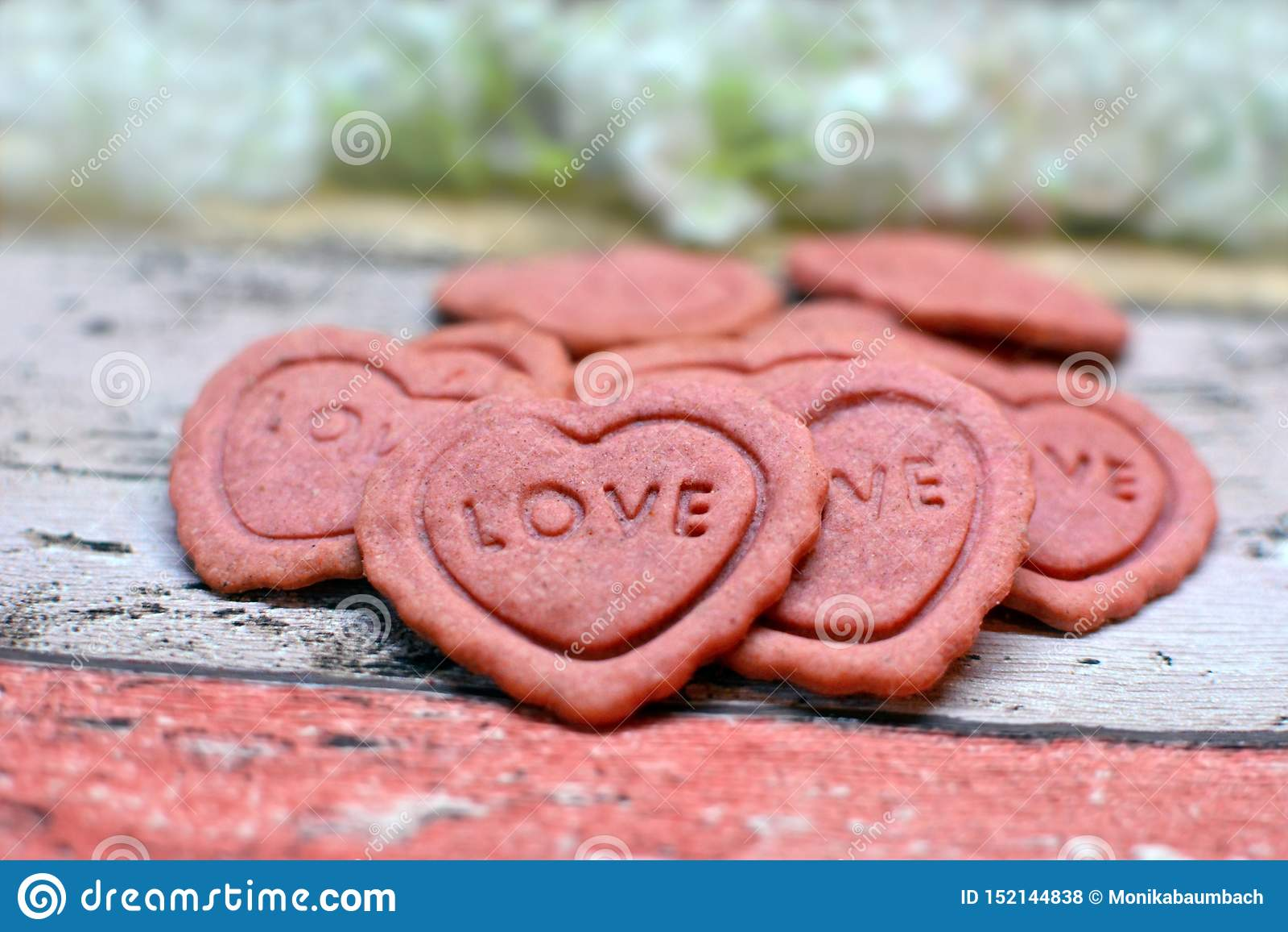 O coração cor-de-rosa deu forma a Valentine Day que em casa cozido as cookies com a palavra amam neles
