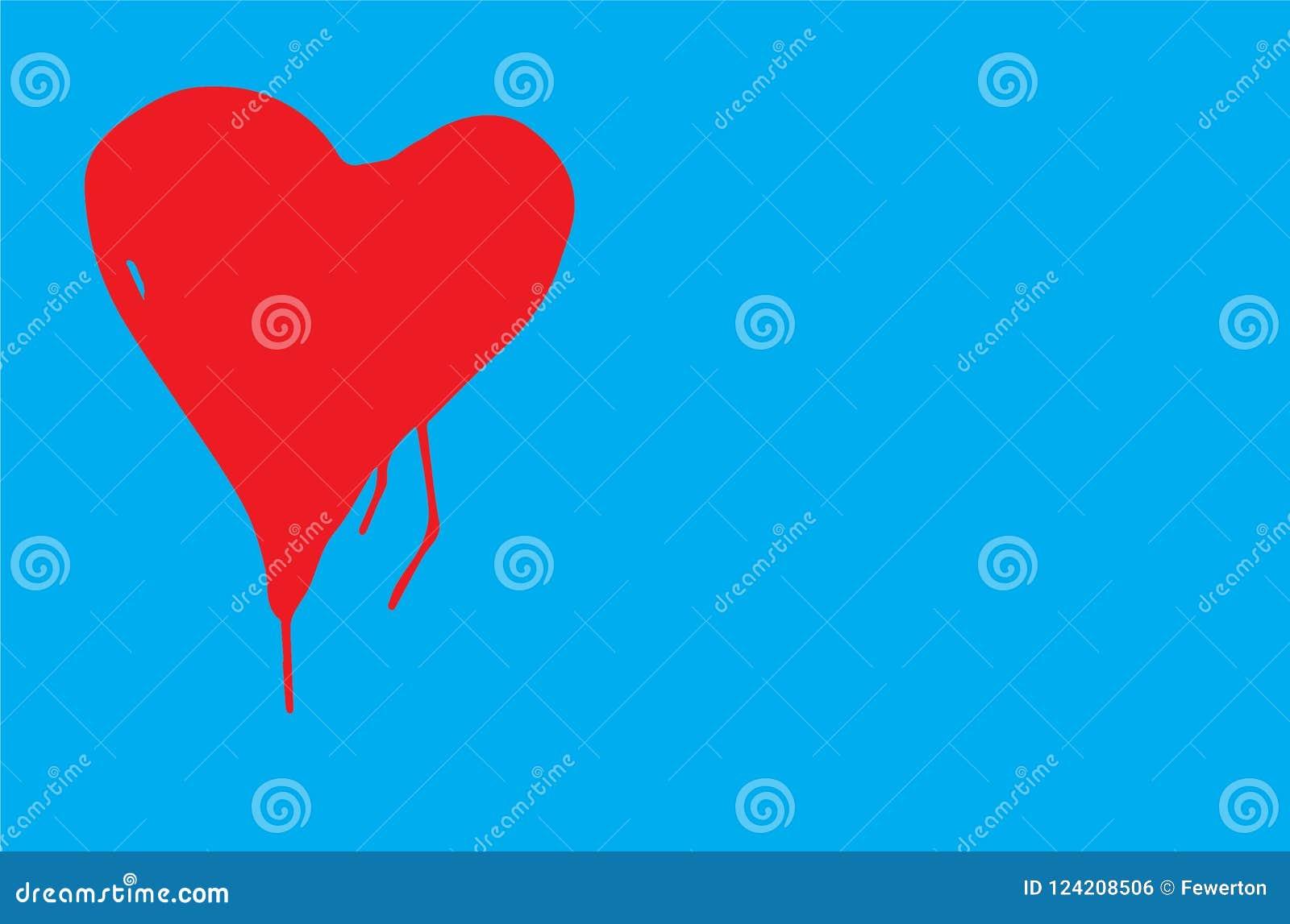 O coração da cor vermelha com forma imperfeita e pintura goteja em uma ilustração azul do vetor do fundo