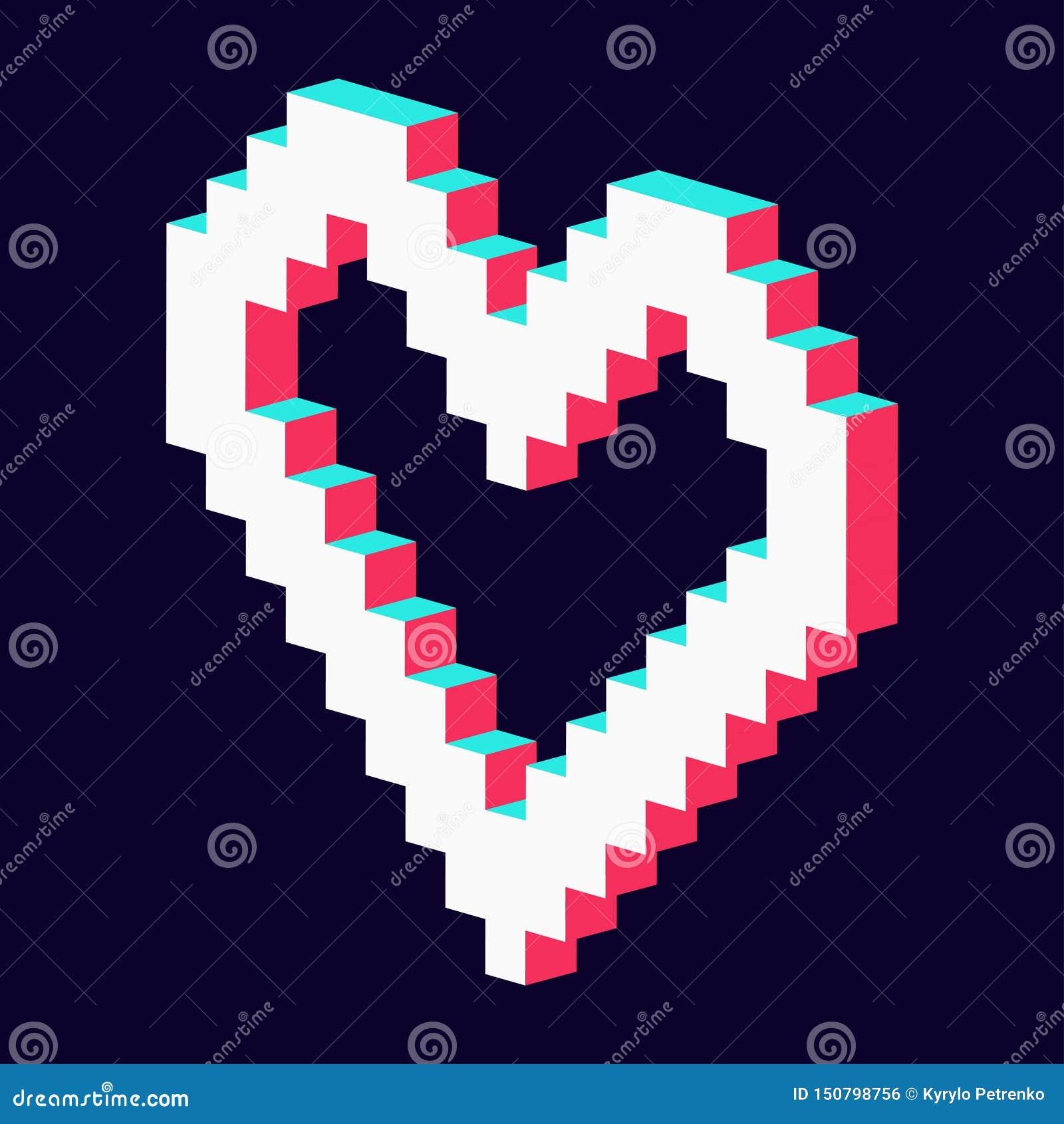 O coração do pixel fez a 3d o branco vermelho azul
