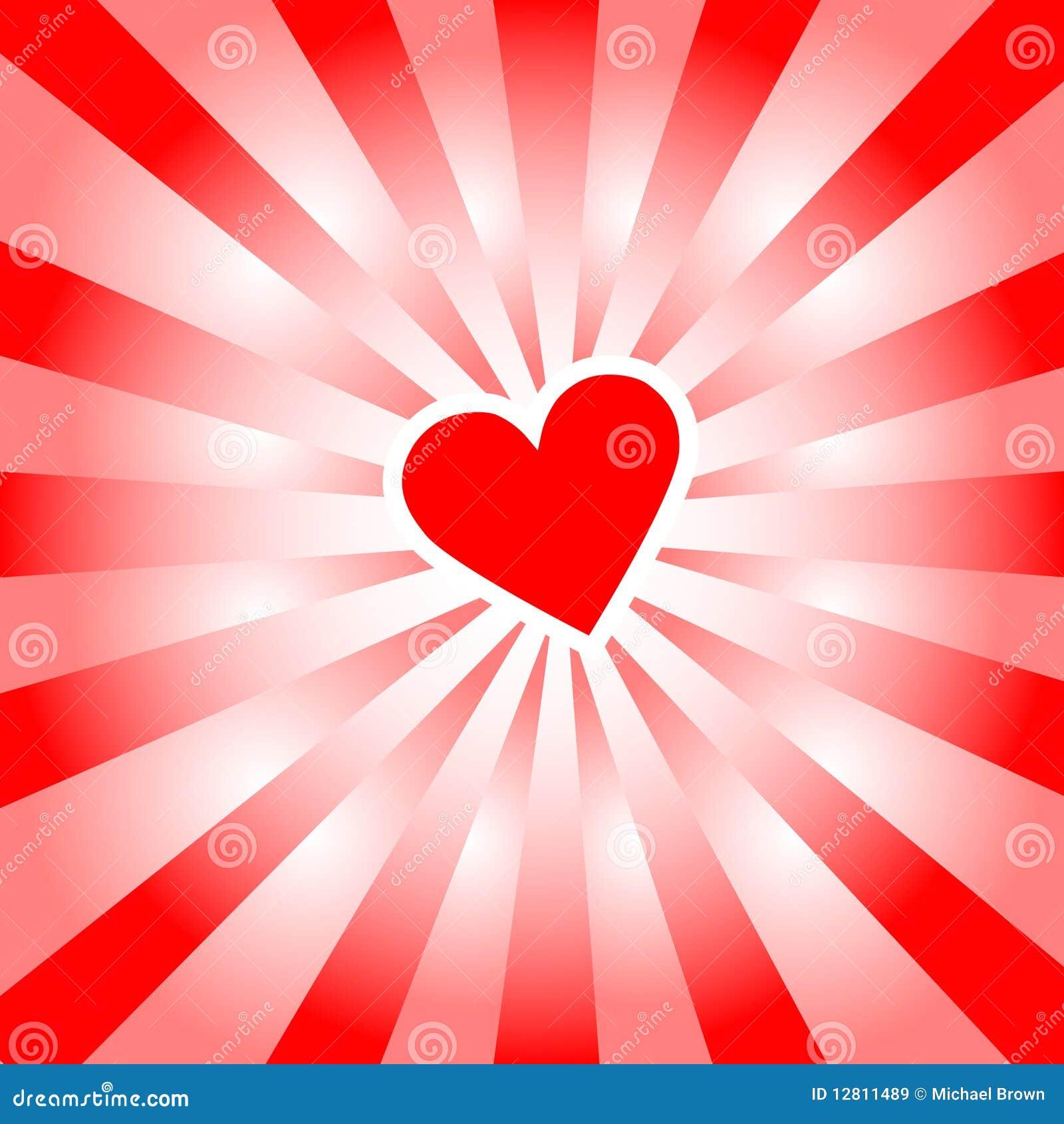 O coração do Valentim irradia raias vermelhas do amor