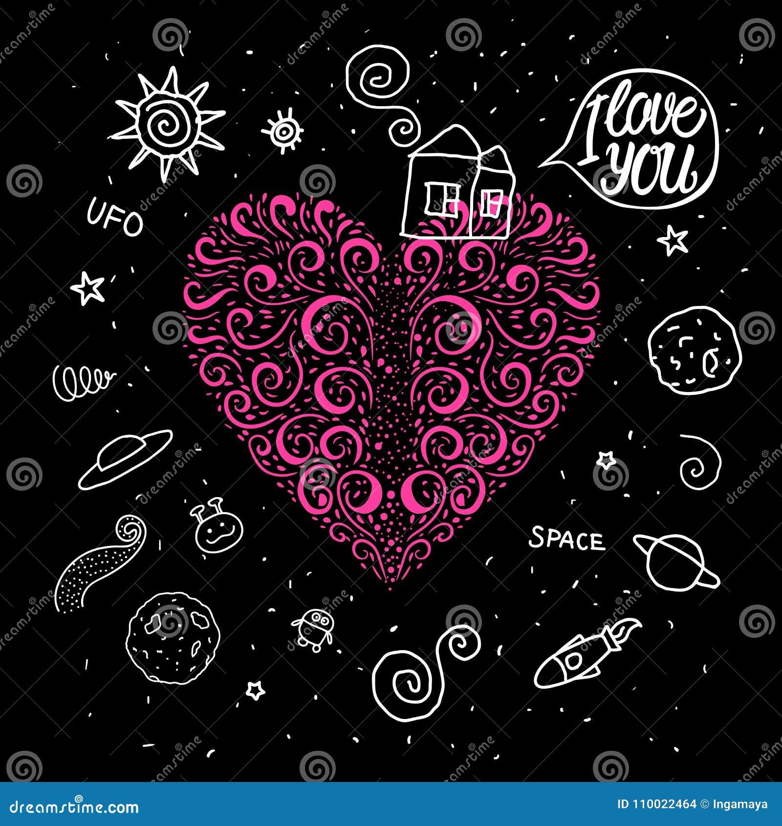 O coração tirado mão do vetor ondula no tema do espaço Casa doce da garatuja e em torno do universo do espaço