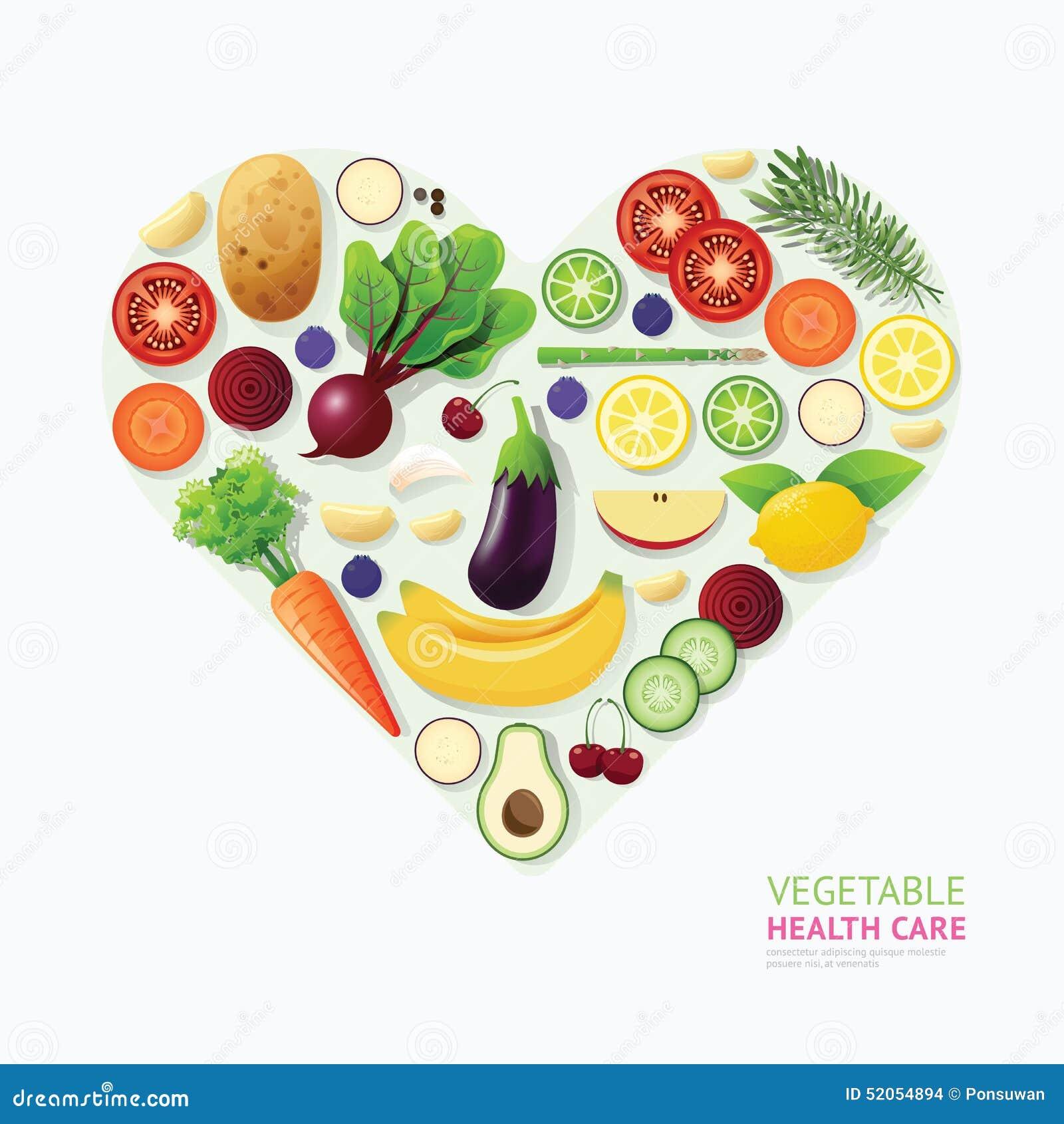 O Coração Dos Cuidados Médicos Do Alimento Do Vegetal E Do Fruto De Infograph...