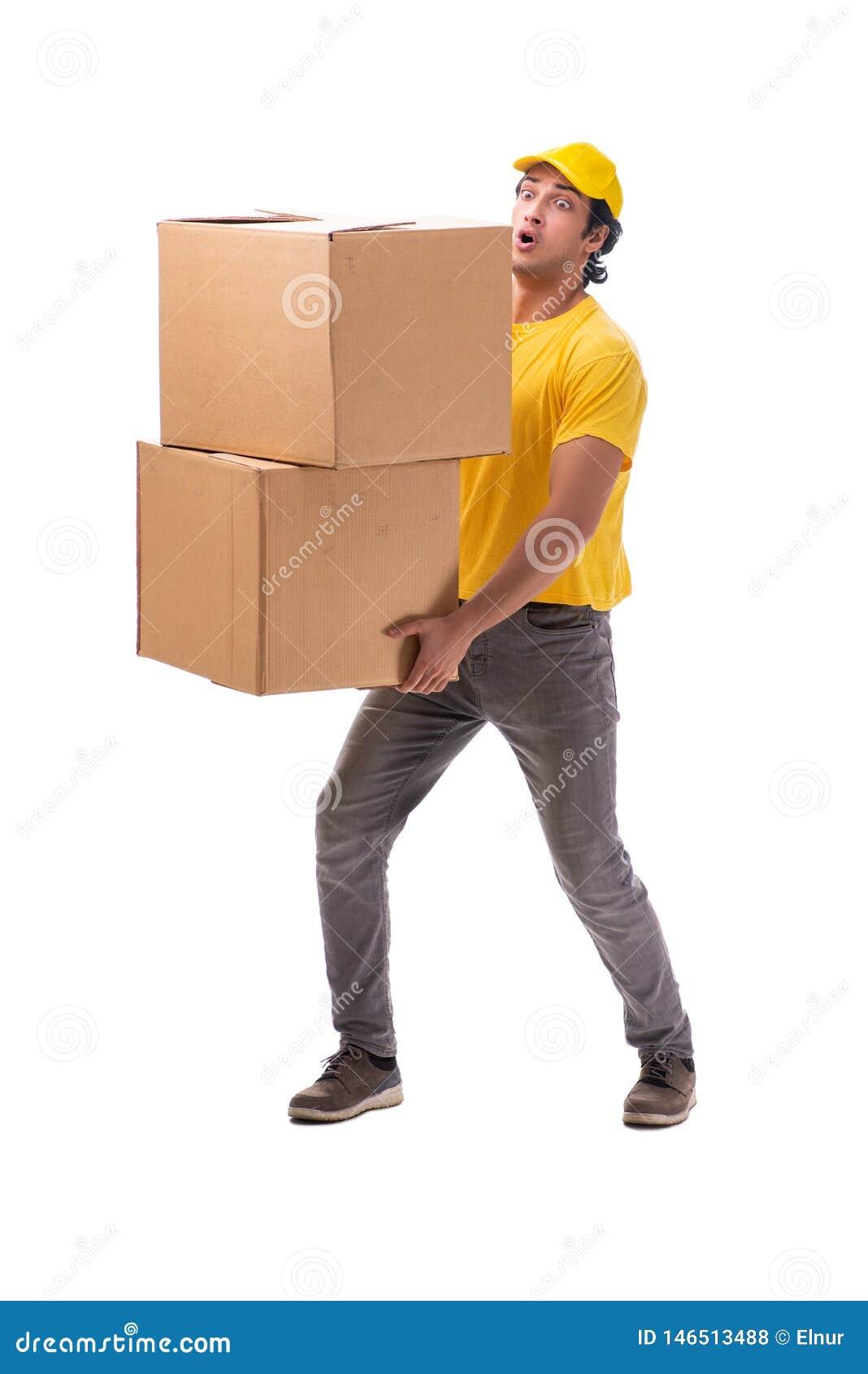 O correio masculino novo com caixa