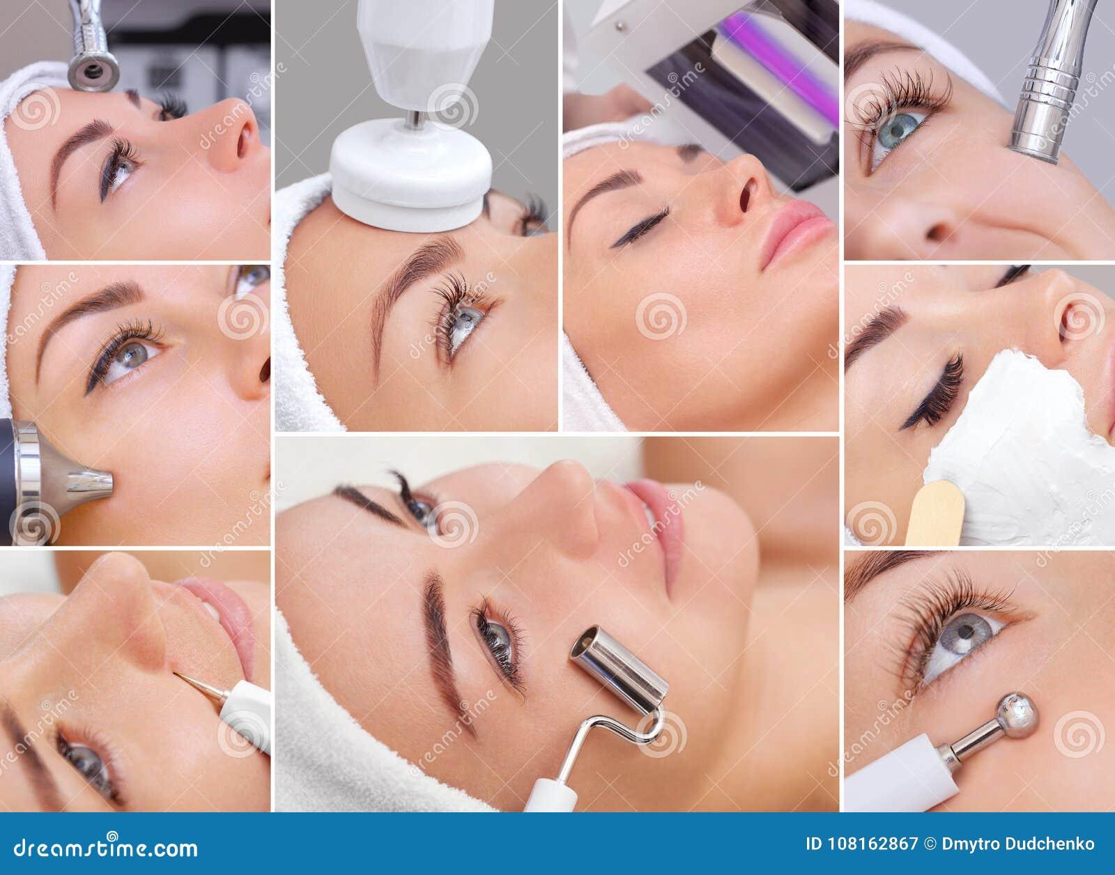 O cosmetologist faz ao instrumento um procedimento de Microcurren