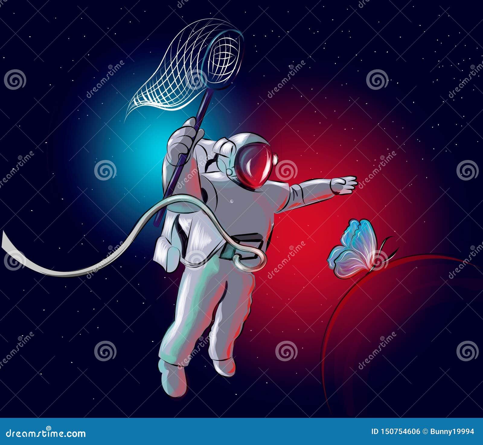 O cosmonauta está perseguindo uma borboleta