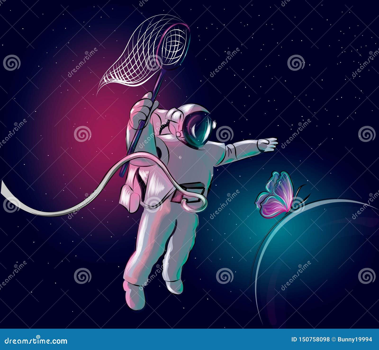 O cosmonauta está perseguindo uma borboleta Astronauta no espa?o Ilustra??o do vetor