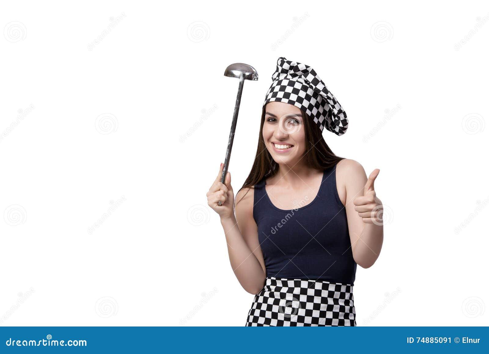 O cozinheiro do cozinheiro chefe da jovem mulher isolado no branco