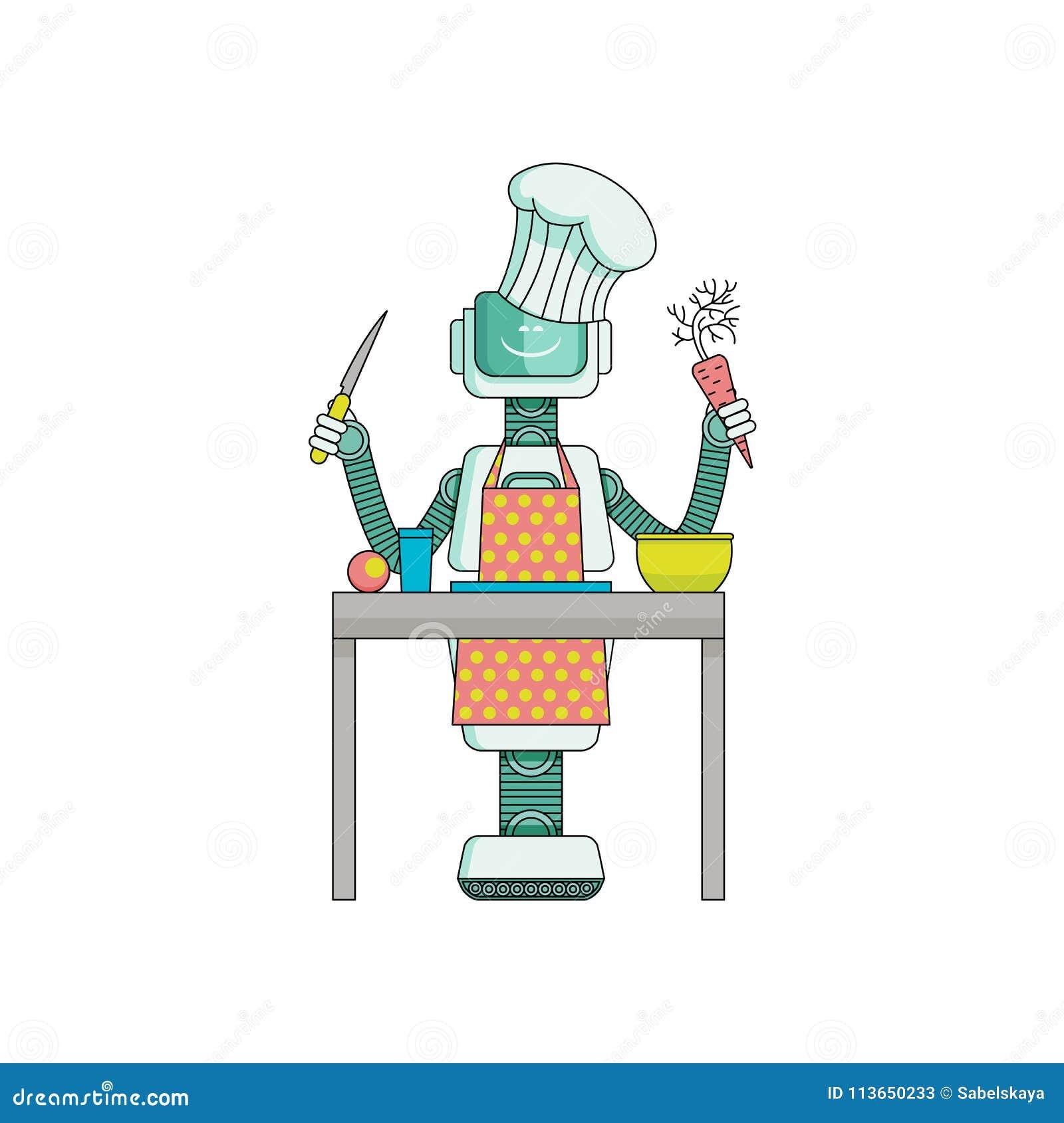 O cozinheiro do robô prepara o alimento na cozinha isolada no fundo branco