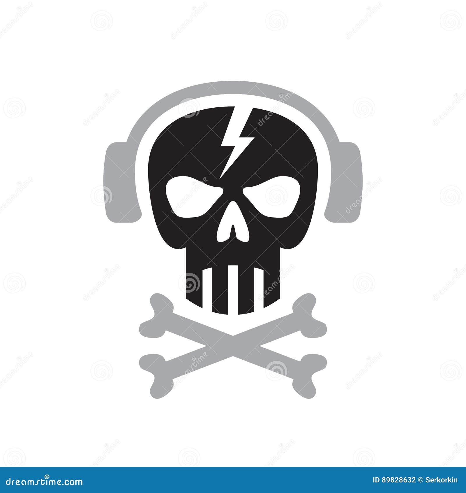 O crânio humano com fones de ouvido assina - vector a ilustração do conceito do molde do logotipo Elemento do projeto