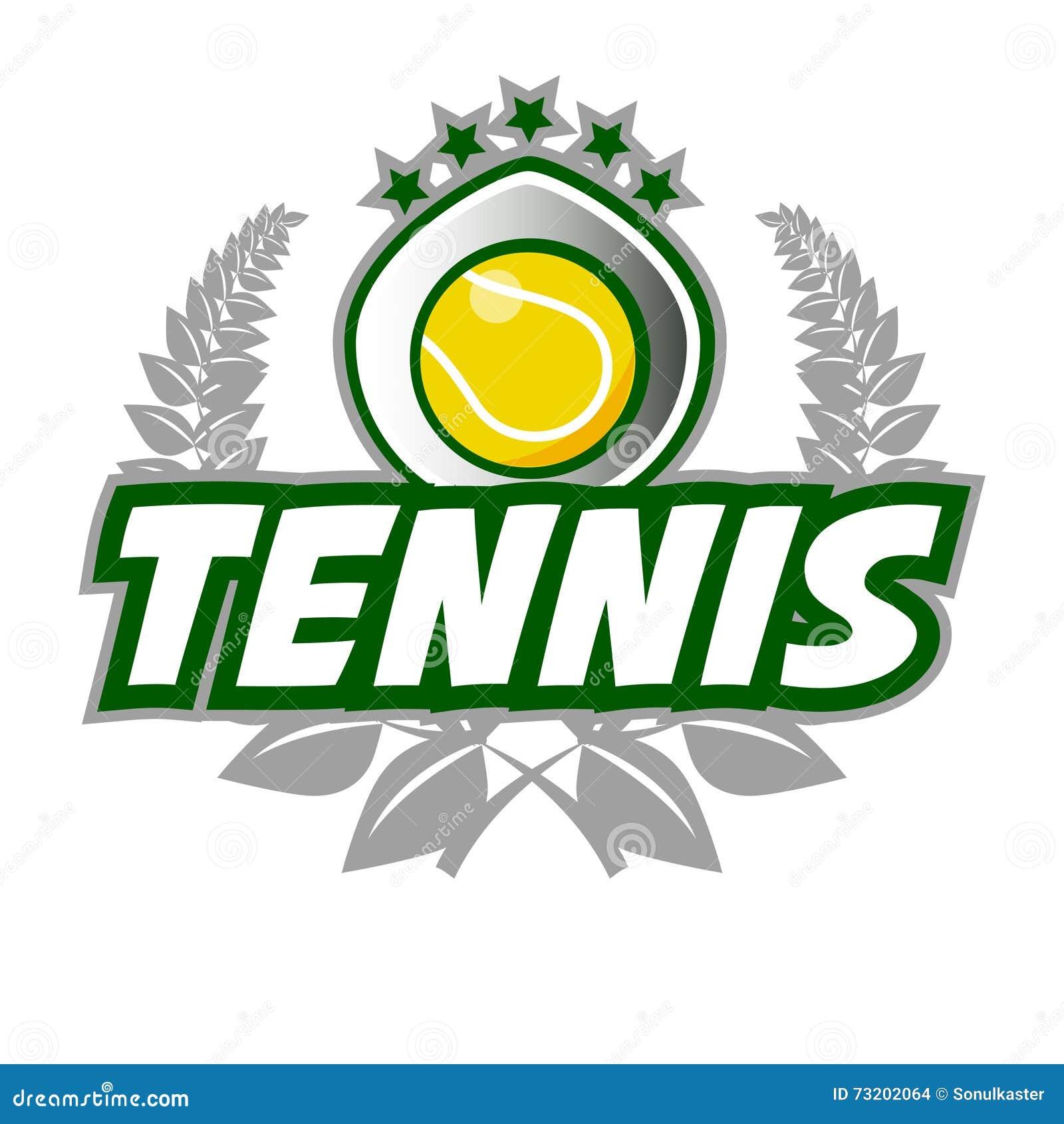 O crachá Logo Template do tênis com bola e o louro envolvem-se
