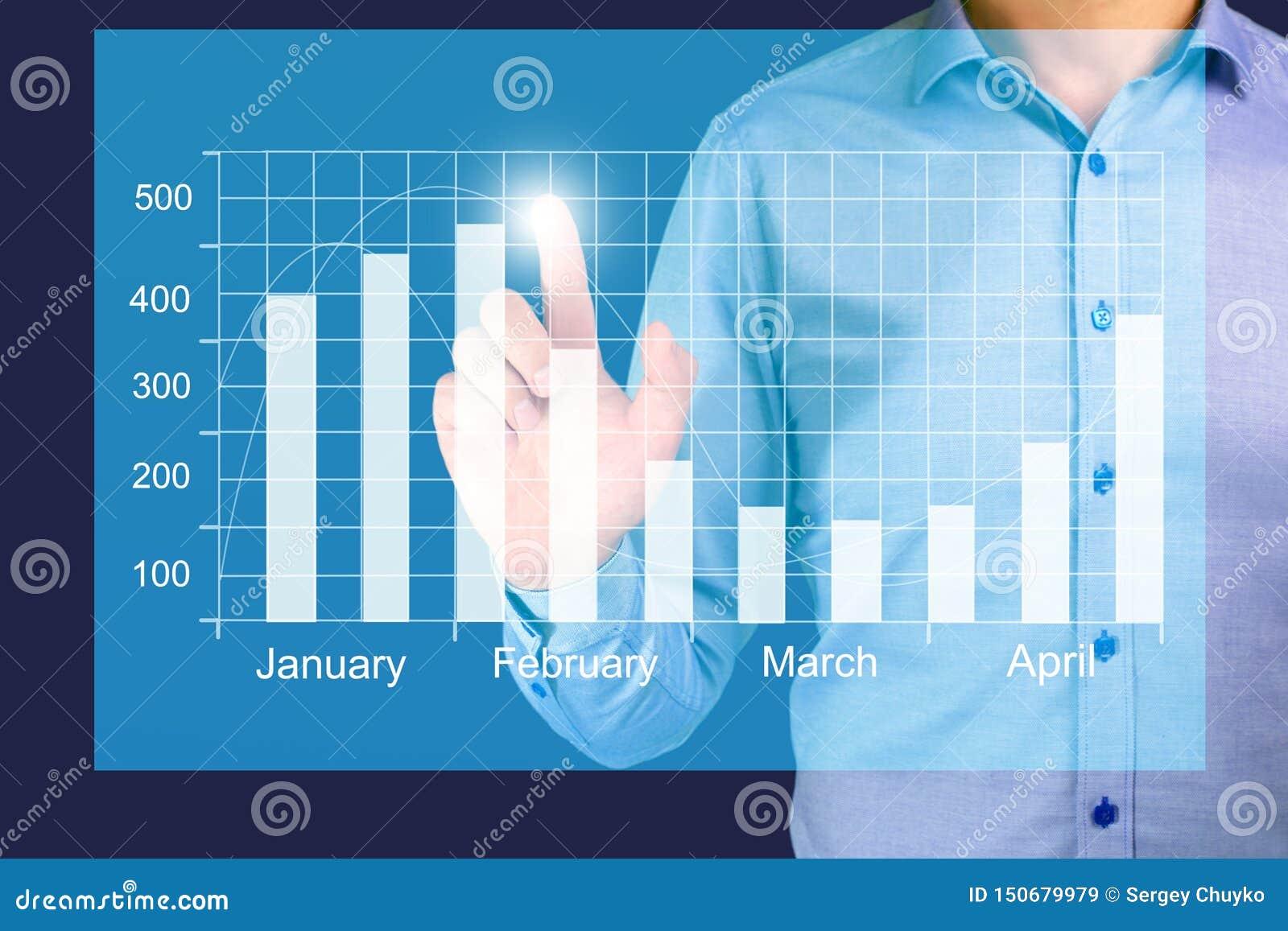 O crescimento em uma carta, mãos do negócio de exibição do homem de negócios toca no gráfico