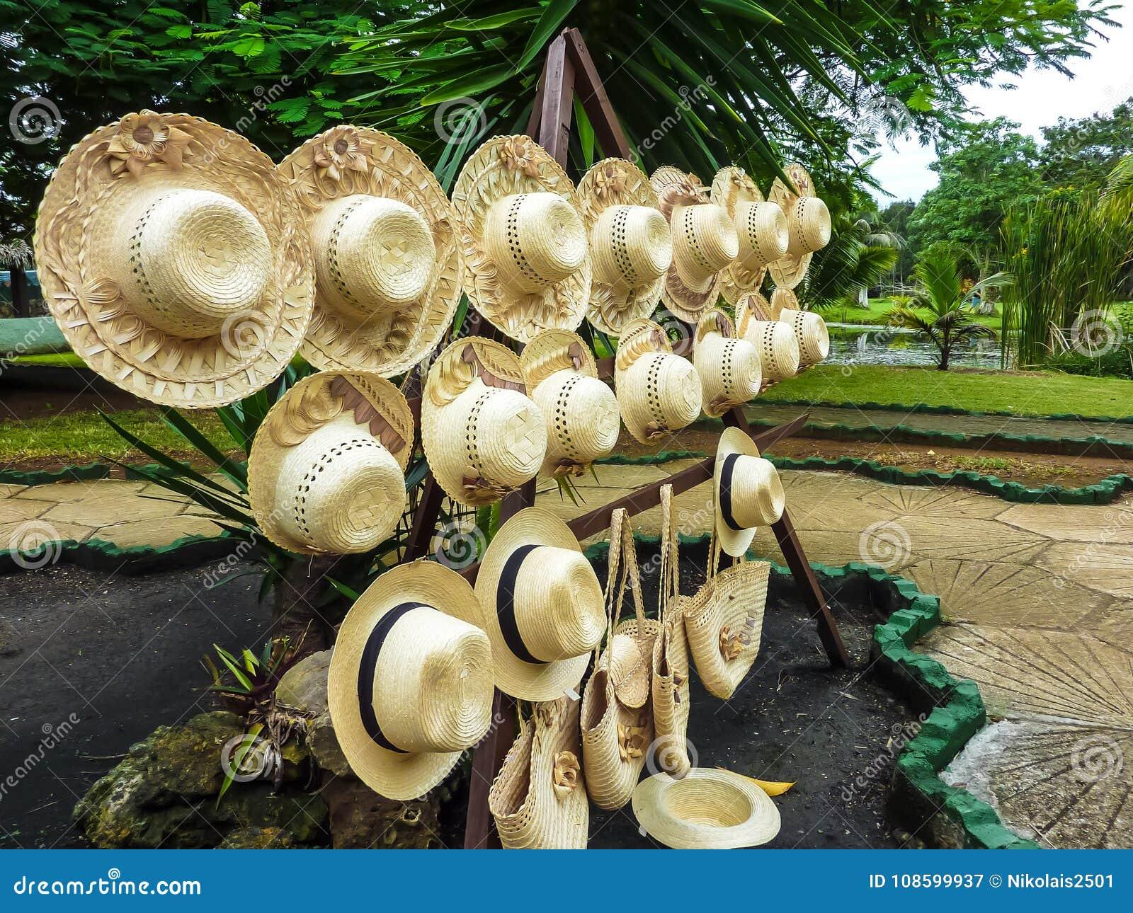 O ` cubano nacional s das mulheres trançou camisas no fundo de uma paisagem tropical, Cuba