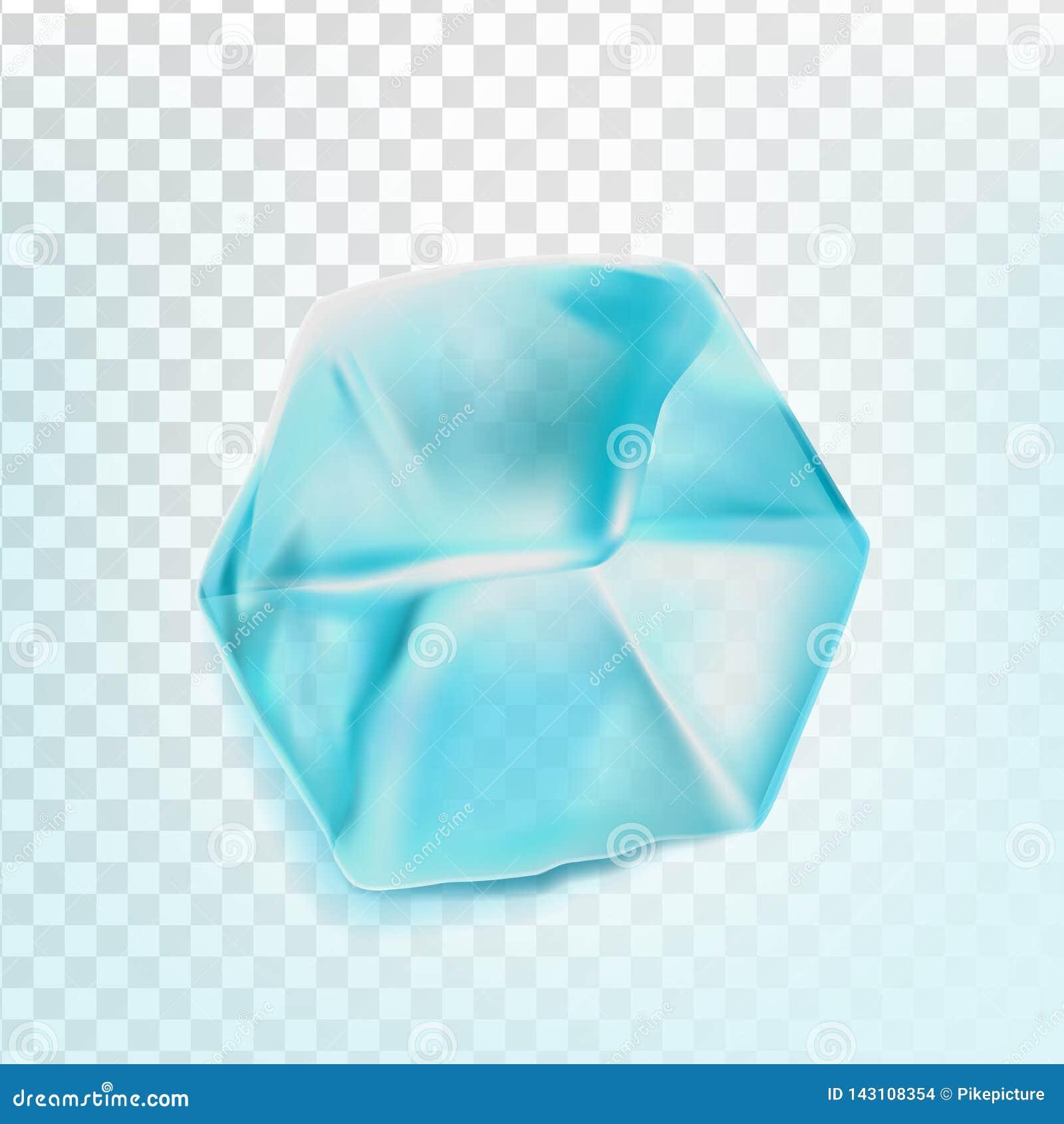 O cubo de gelo isolou o vetor de Transpatrent Parte fresca Quadrado Aqua Symbol brilhante Ilustração realística