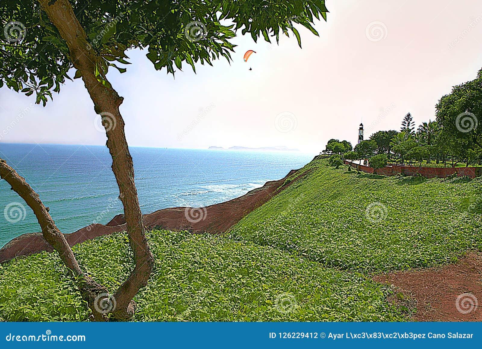 O ` da costa do verde do ` na frente do Oceano Pacífico - Miraflores, Lima - Peru