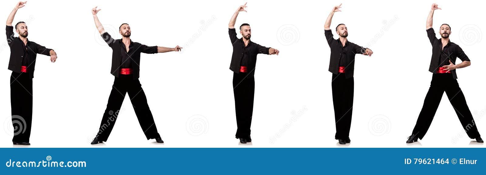 O dançarino espanhol em várias poses no branco
