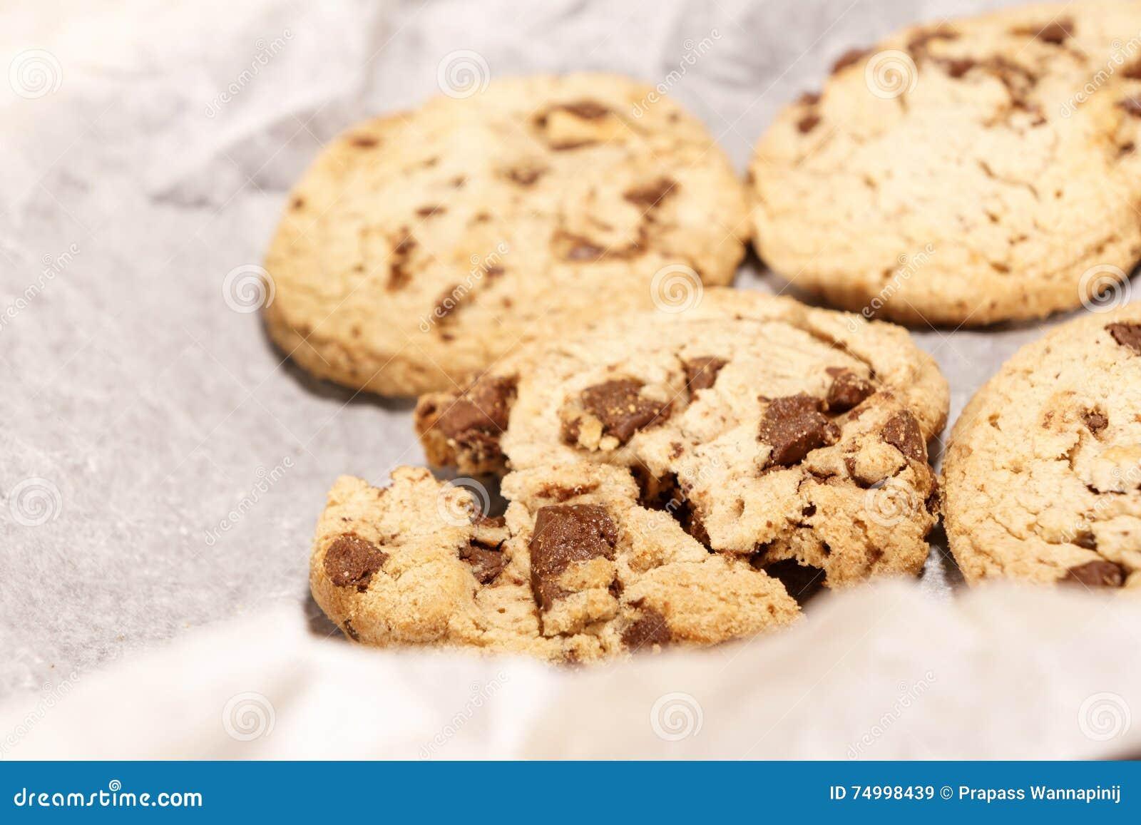 O delicado redondo coze a cookie dos pedaços de chocolate