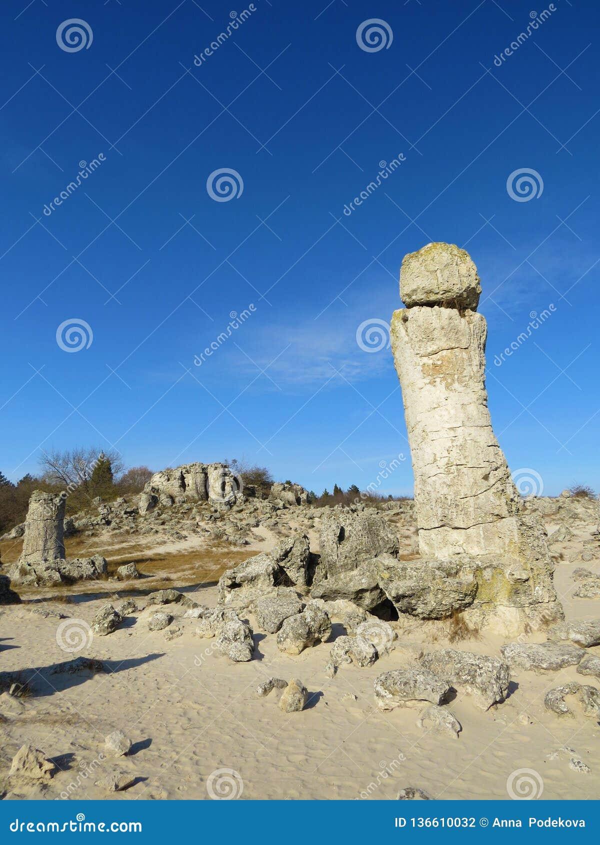 O deserto de pedra ou a floresta de pedra perto de Varna Formou naturalmente rochas da coluna Conto de fadas como a paisagem bulg