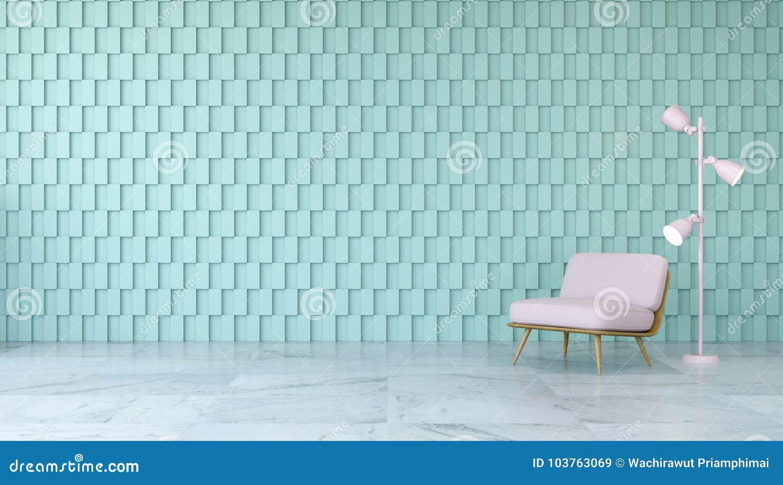 O design de interiores moderno da sala, a cadeira cor-de-rosa no assoalho de mármore e a parede quadrada verde, 3d rendem