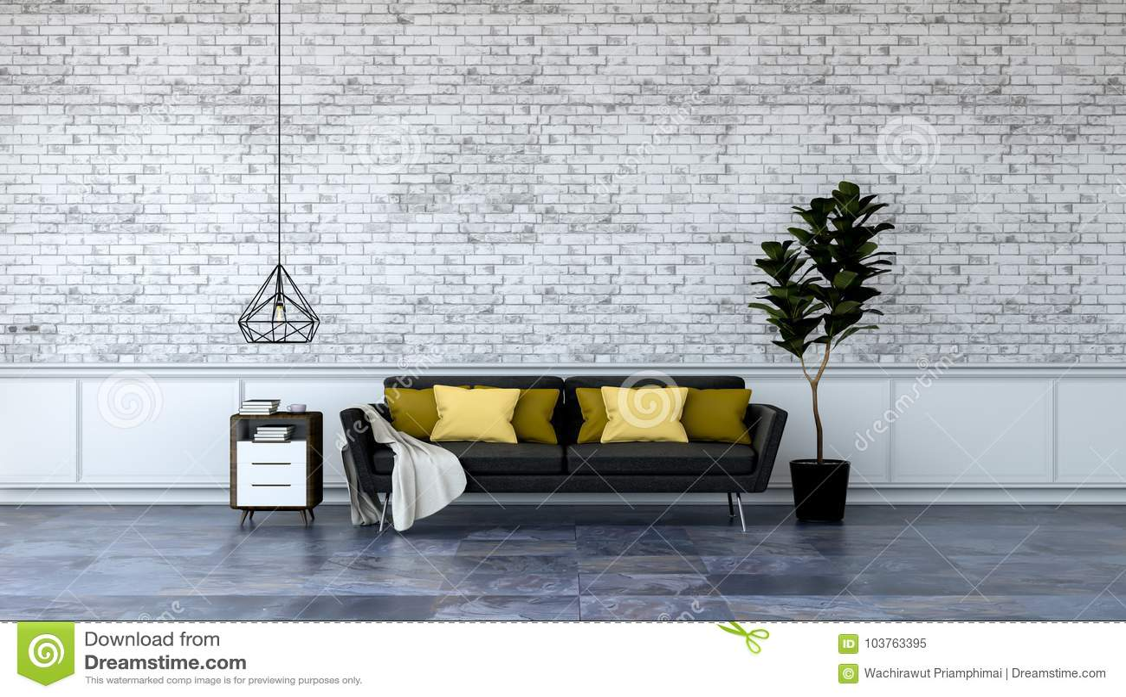 O design de interiores moderno do sótão, a mobília preta no revestimento de mármore e a parede de tijolo branca /3d rendem