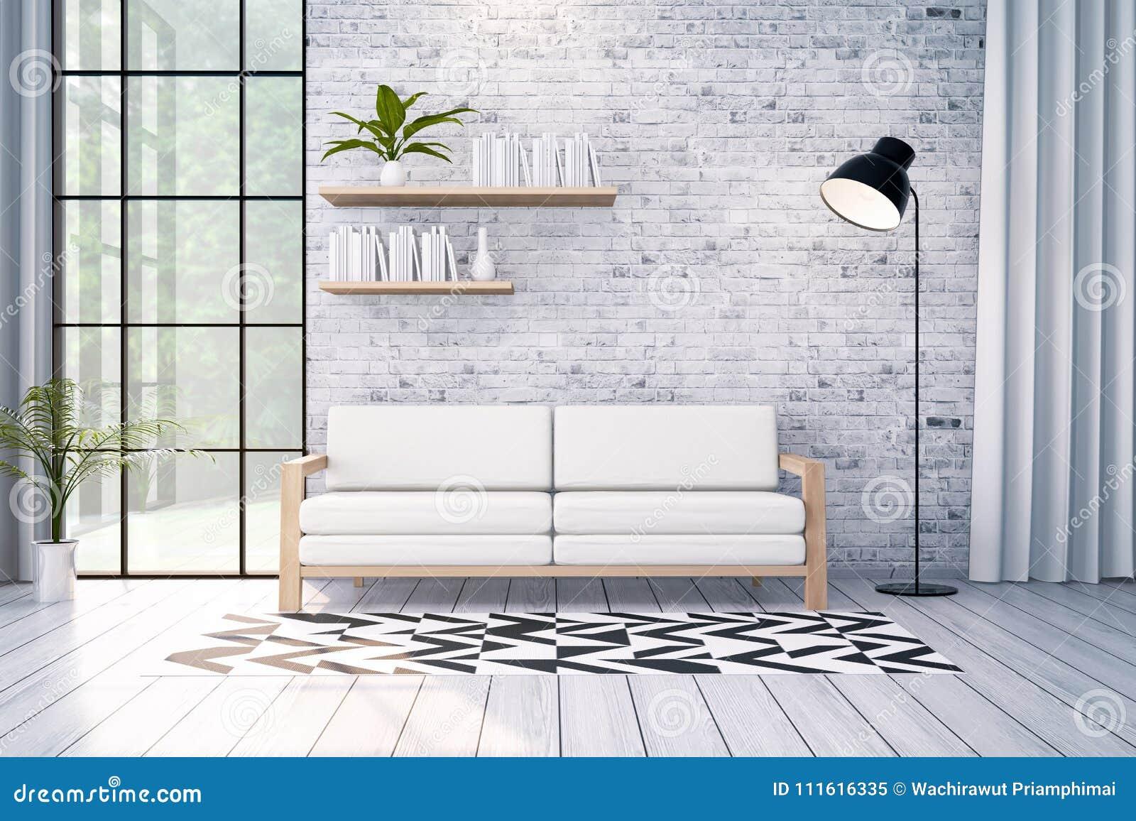 O design de interiores moderno do sótão, o sofá branco e a lâmpada preta na parede de tijolo, 3d rendem