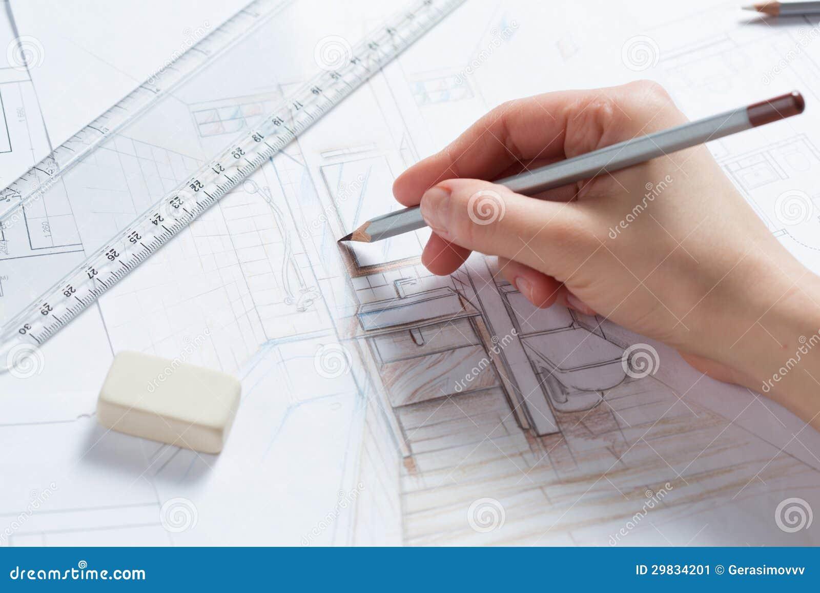 Detalhes do desenho da mão de interior