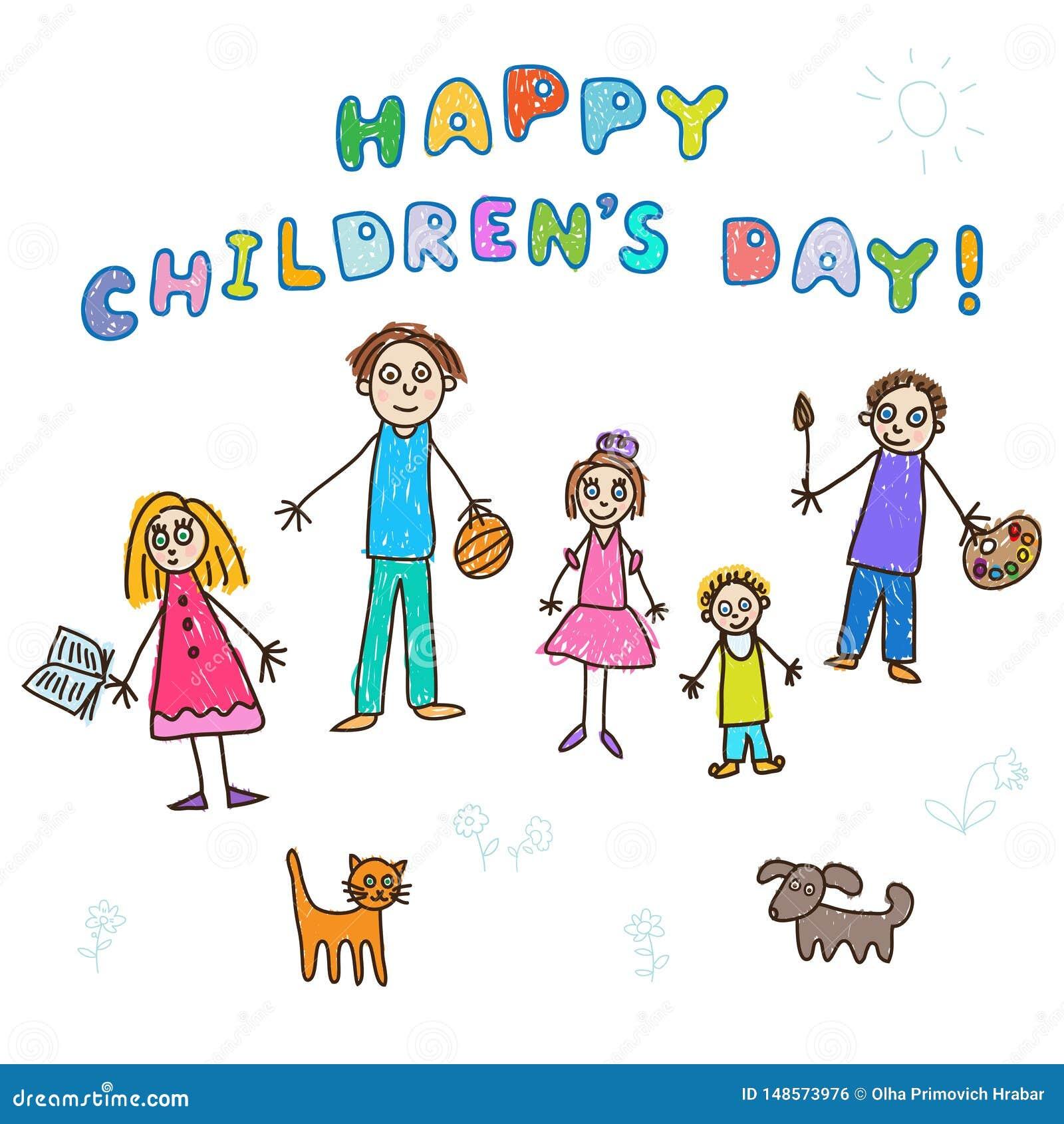 O dia das crianças felizes! Tiragem das crianças