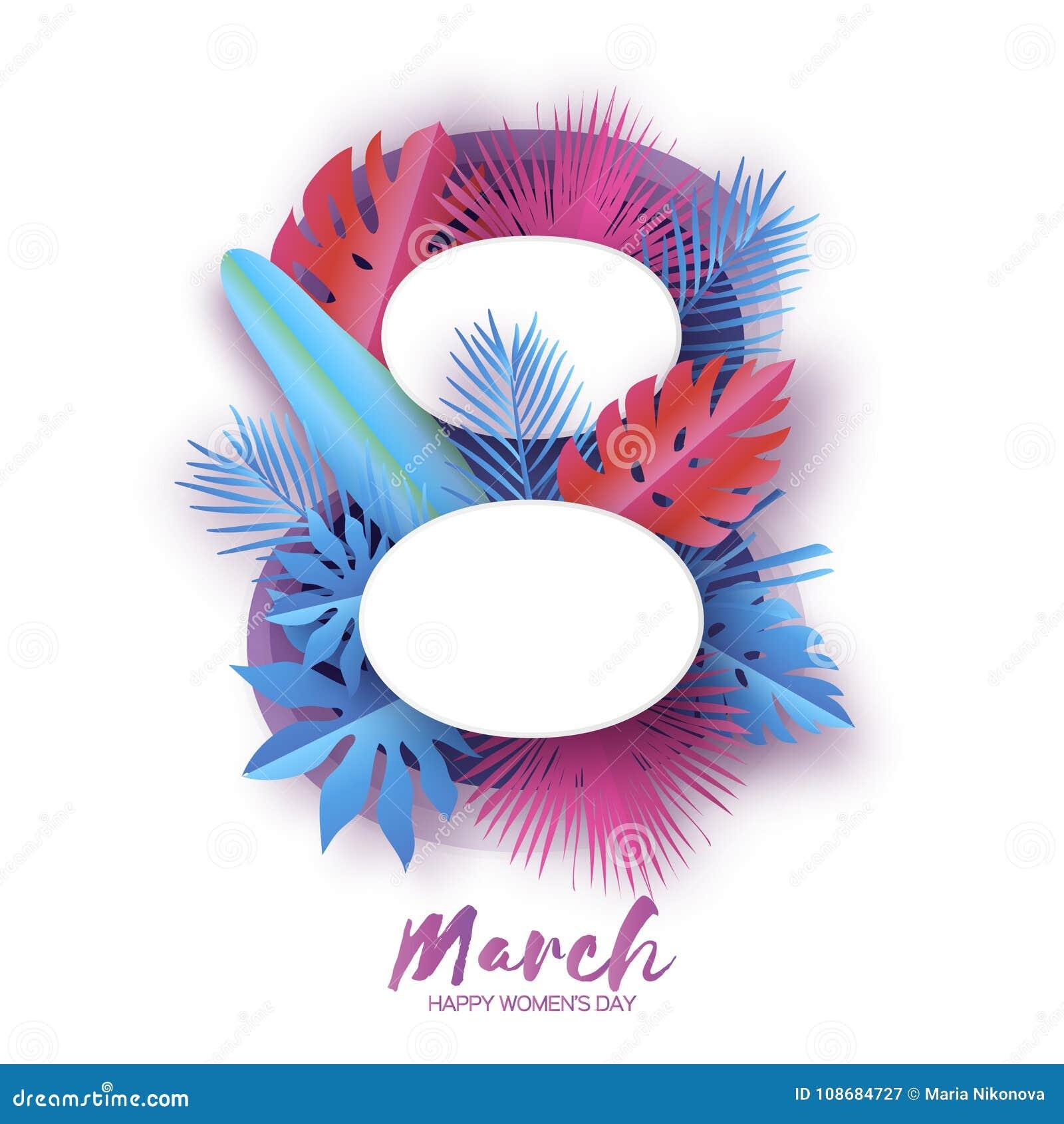 O dia das mulheres internacionais com papel da selva cortou folhas de palmeira tropicais, plantas exotic Número do origâmi 8 Dia